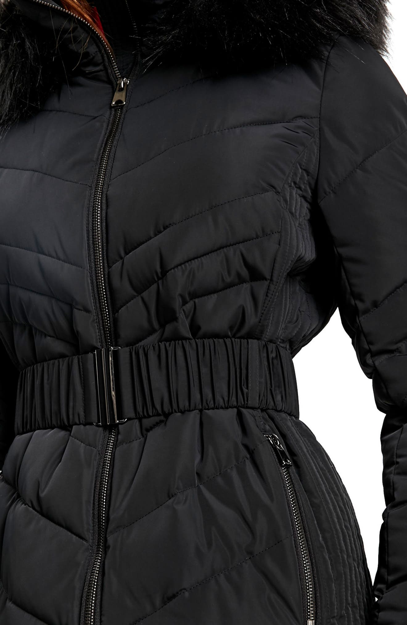 Water Repellent Quilted Puffer Coat with Faux Fur Trim,                             Alternate thumbnail 3, color,                             001