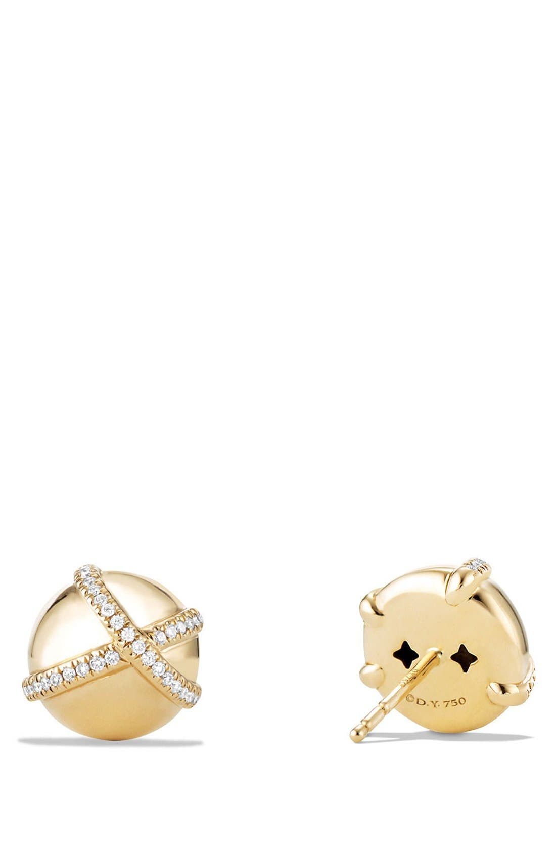 'Solari' Wrap Stud Earrings with Pavé Diamonds in 18K Gold,                             Alternate thumbnail 2, color,                             YELLOW GOLD