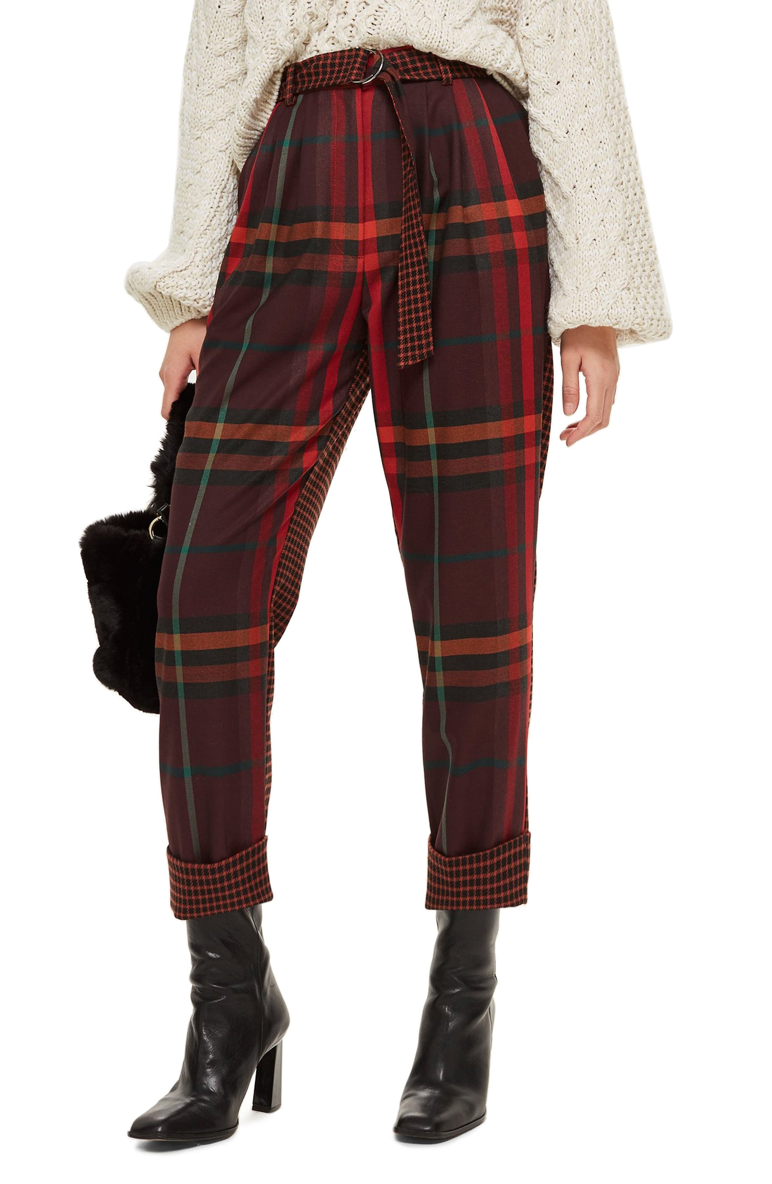 Belted Mixed Check Peg Trousers,                             Main thumbnail 1, color,                             RED MULTI