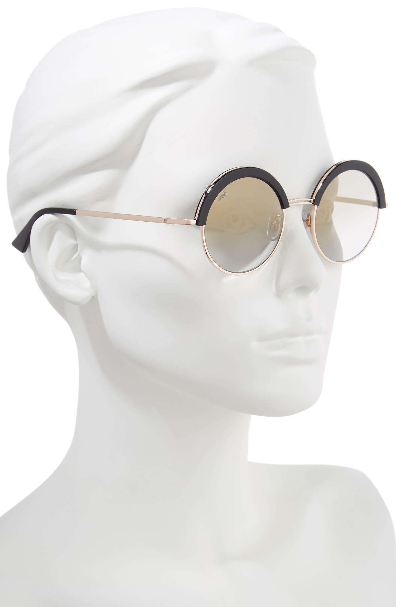 51mm Round Sunglasses,                             Alternate thumbnail 2, color,                             SHINY BLACK/ SMOKE MIRROR
