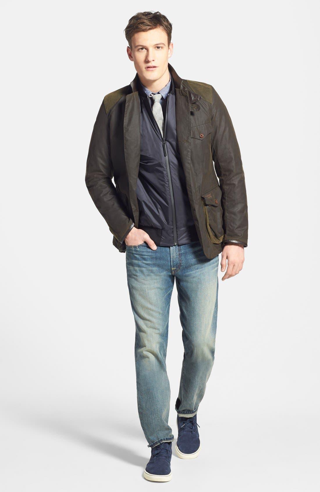 'Beacon' Slim Fit Waxed Cotton Sport Jacket,                             Alternate thumbnail 3, color,                             340