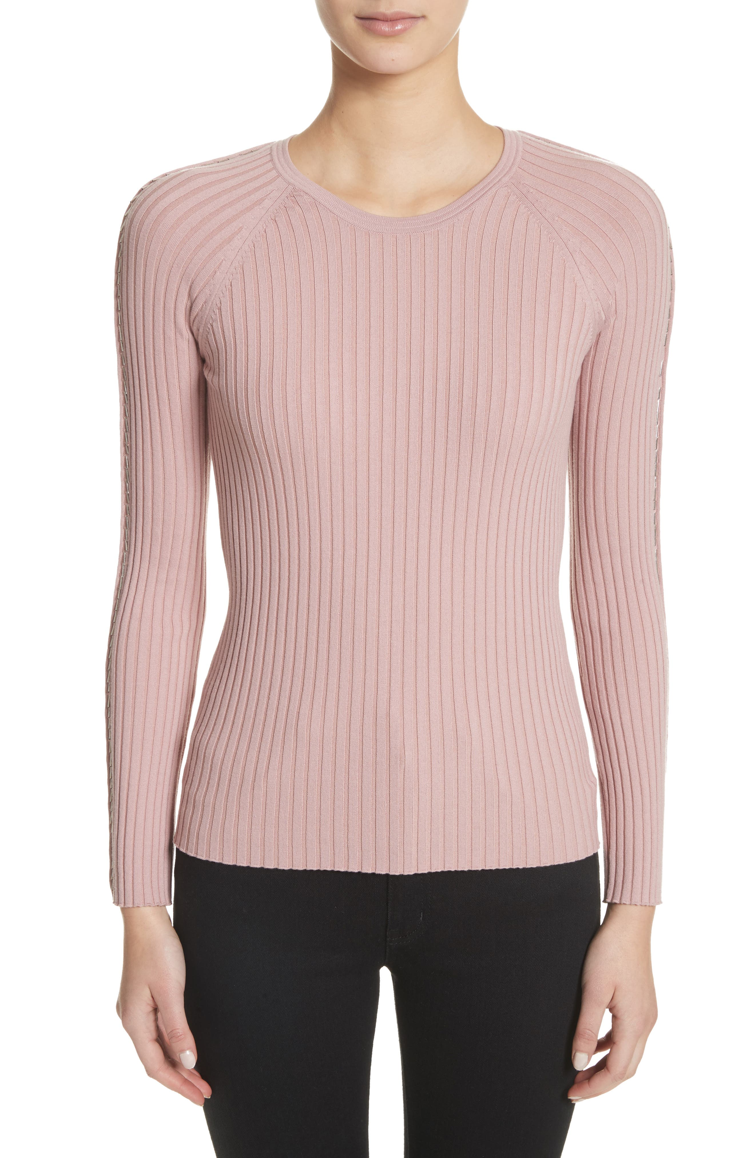 Pin Pierce Ribbed Sweater,                         Main,                         color, 654