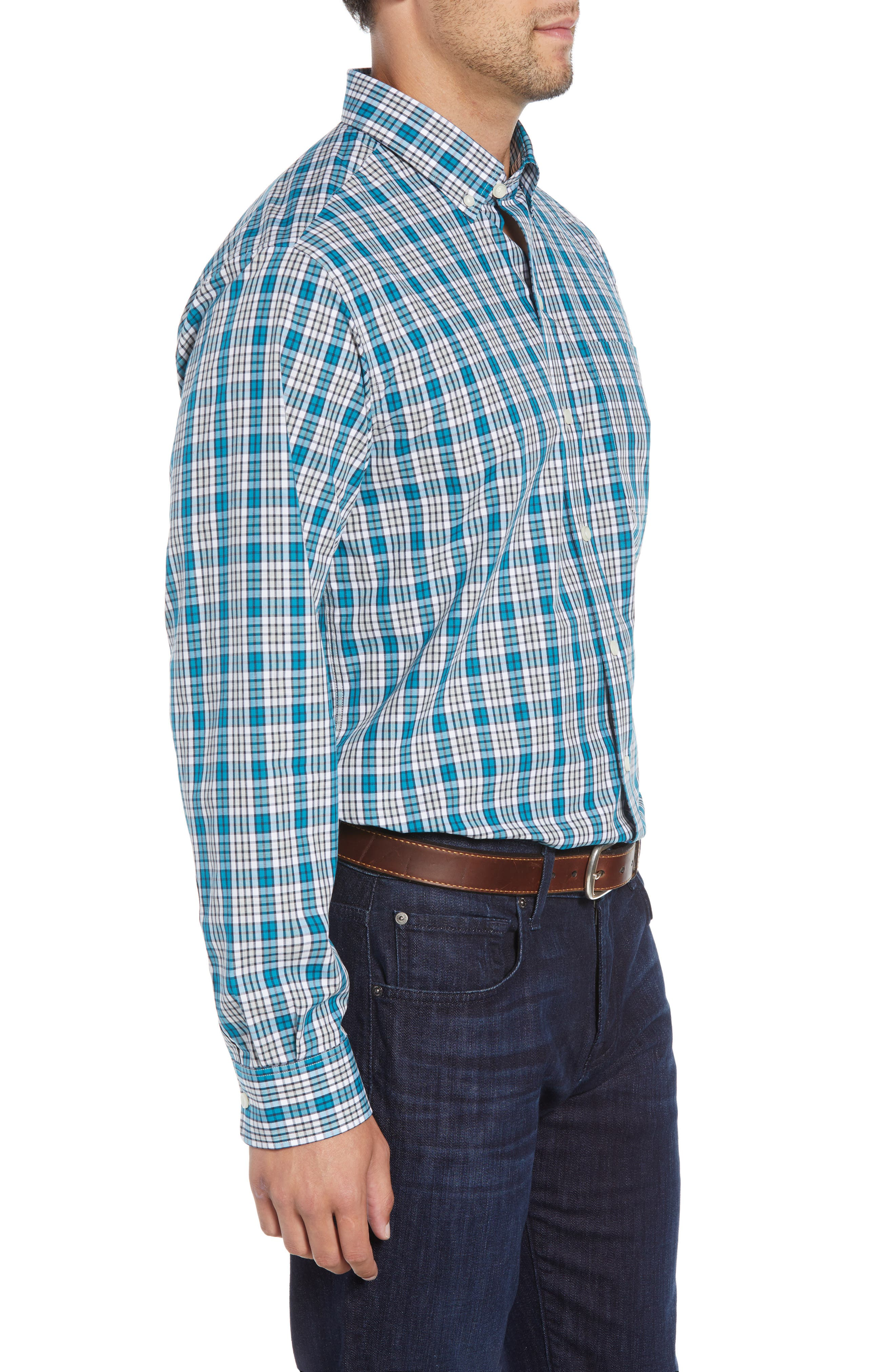 Harris Regular Fit Non-Iron Plaid Sport Shirt,                             Alternate thumbnail 4, color,                             AQUATIC