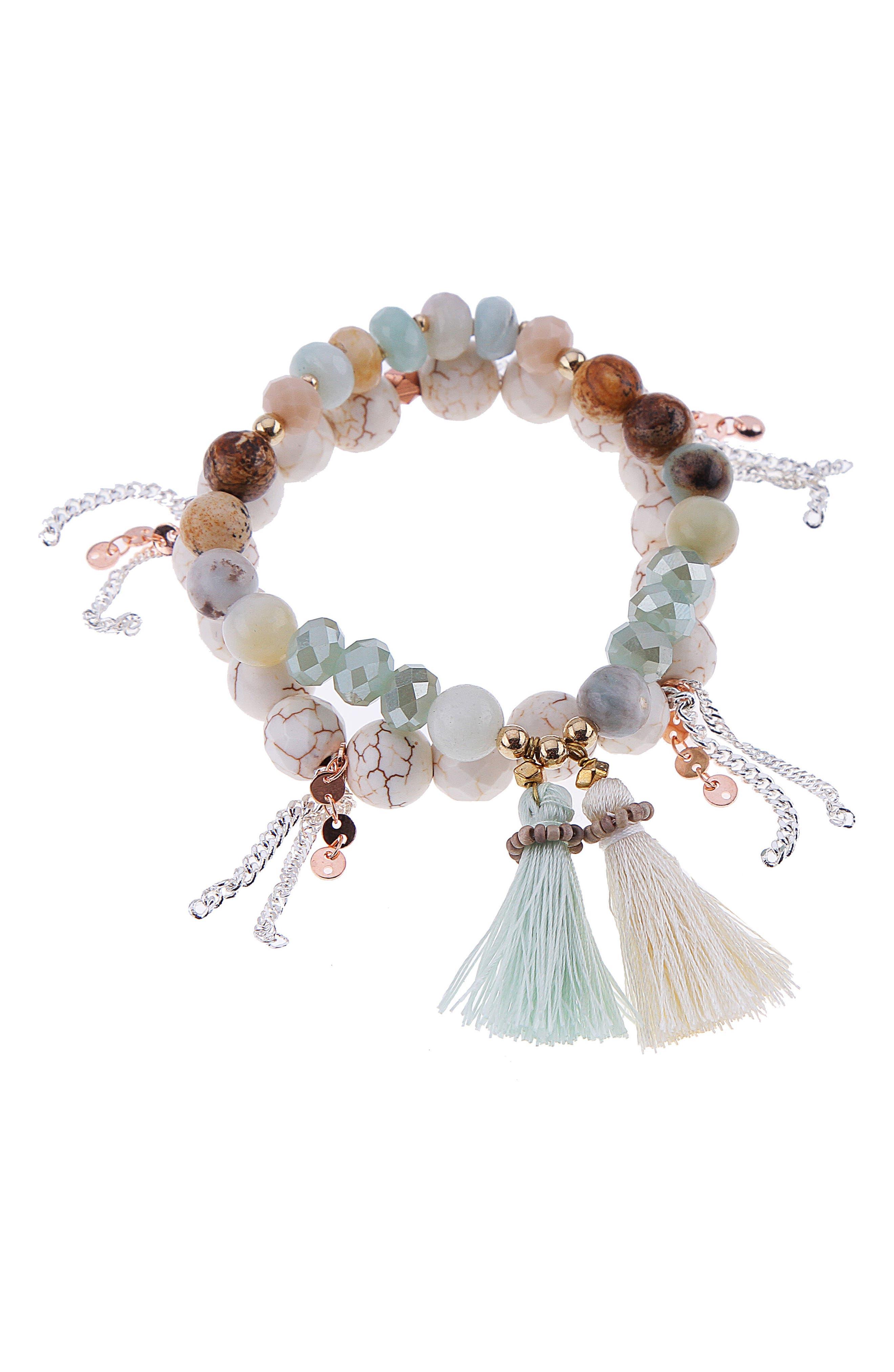Set of 2 Stone Stretch Bracelets,                         Main,                         color, AQUA/ WHITE