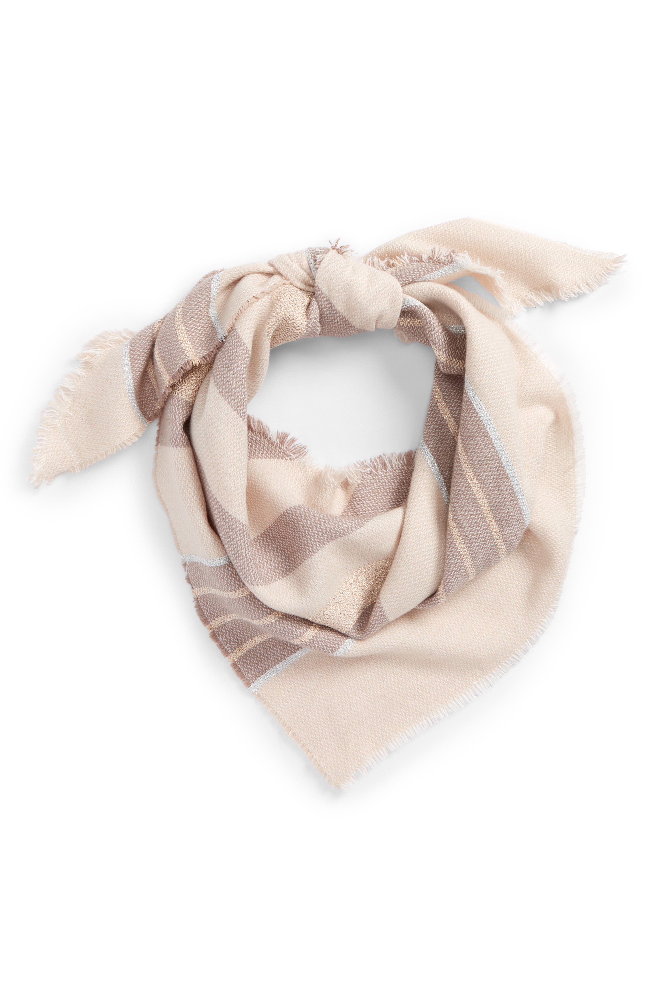 Shimmer Stripe Triangle Scarf,                             Main thumbnail 1, color,                             650