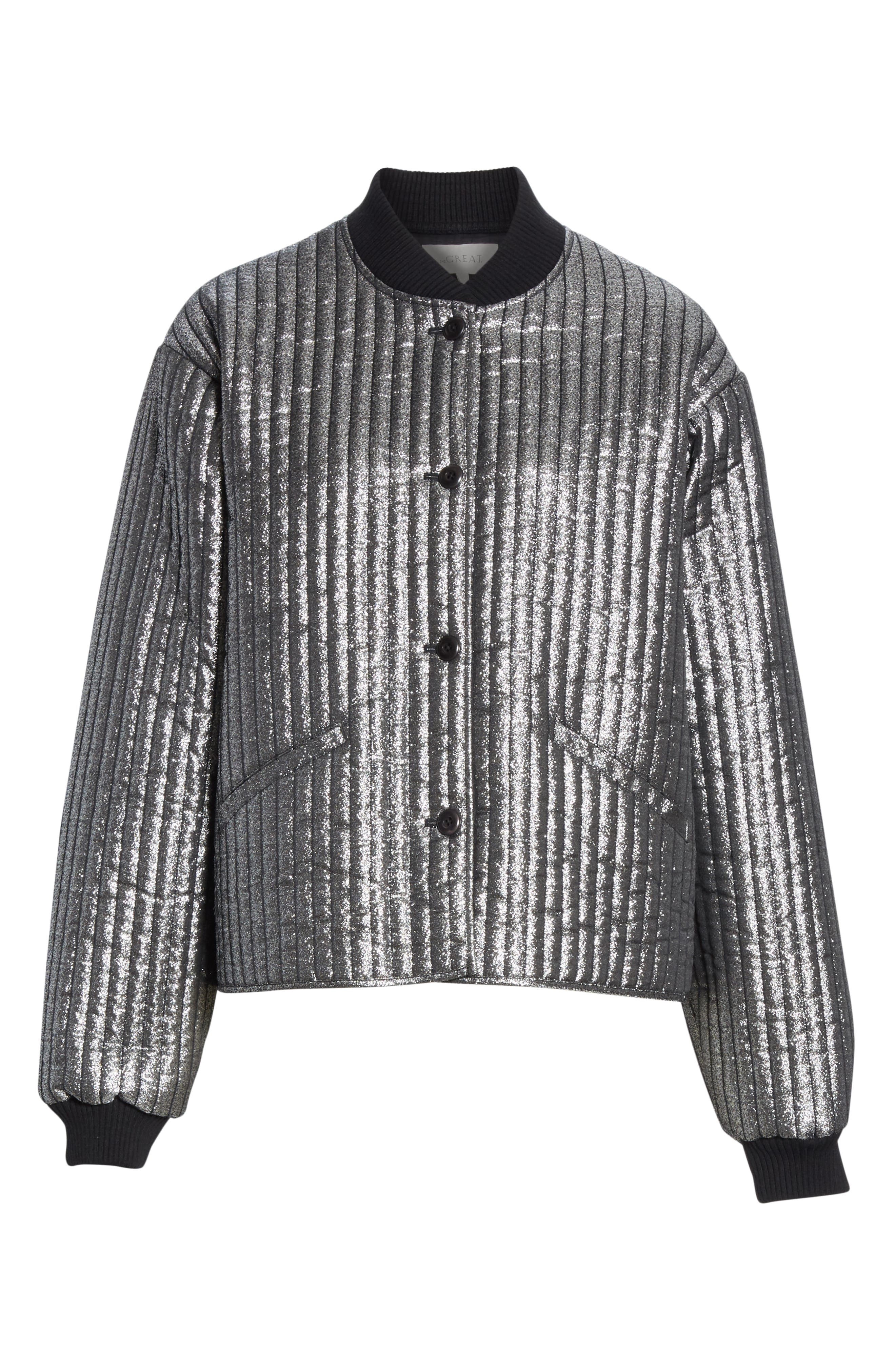 THE GREAT.,                             Quilted Metallic Bomber,                             Alternate thumbnail 5, color,                             040
