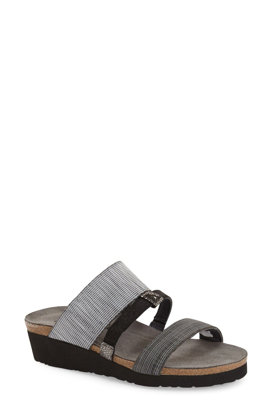 'Brenda' Slip-On Sandal,                         Main,                         color, GREY/ BLACK LEATHER FABRIC