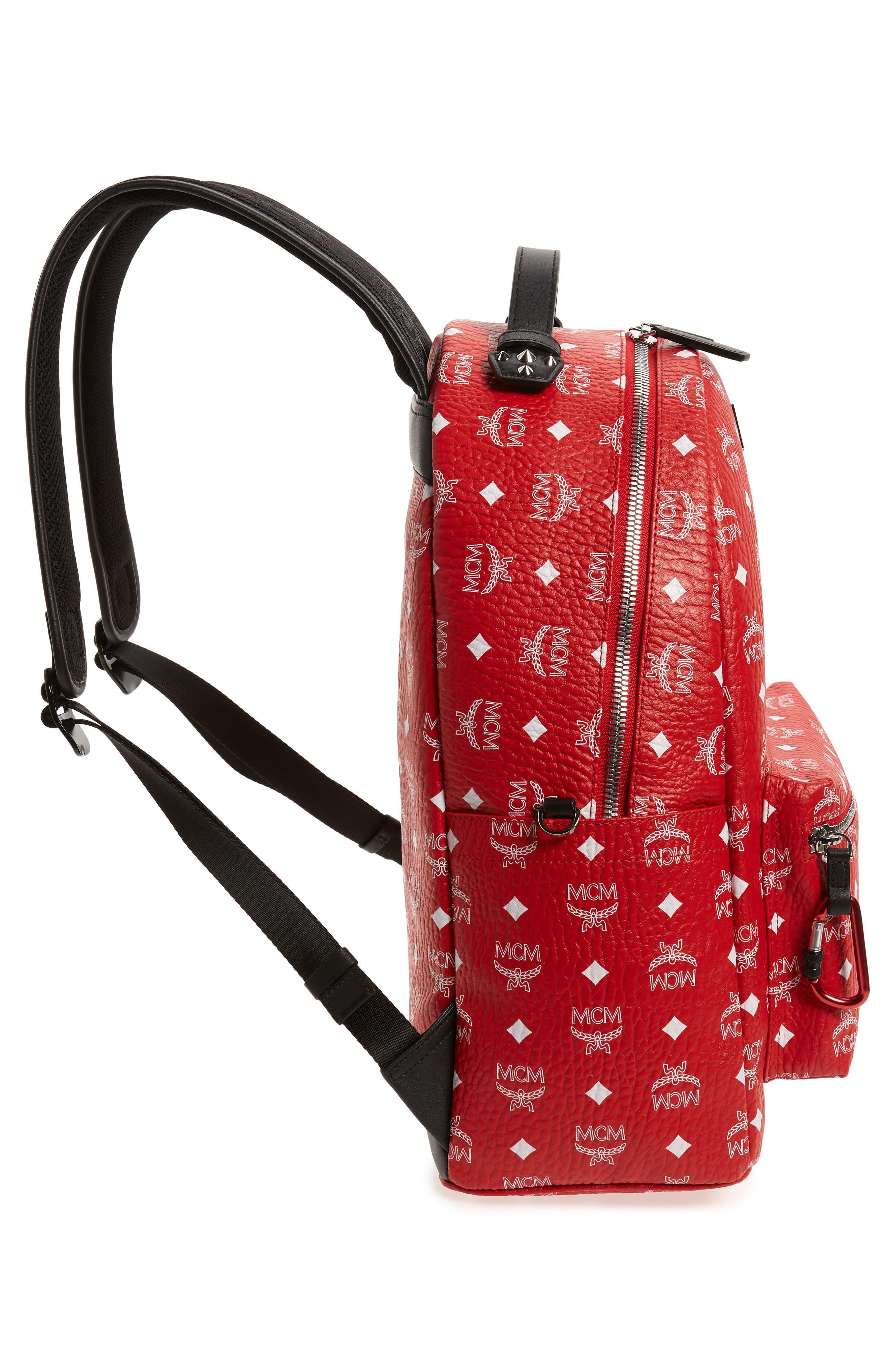 Stark Visetos Faux Leather Backpack,                             Alternate thumbnail 5, color,                             WHITE