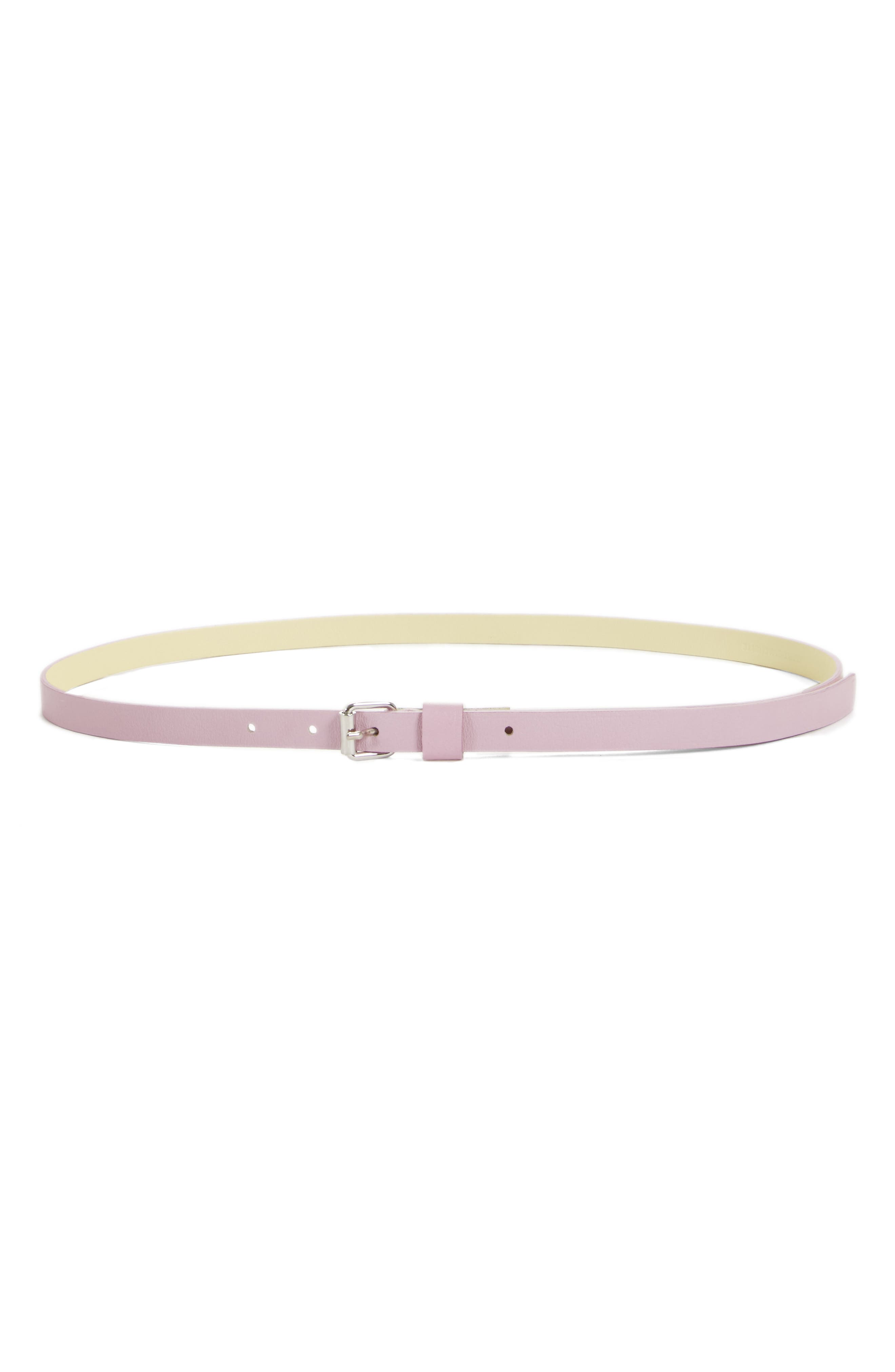 Leather Skinny Belt,                             Main thumbnail 1, color,