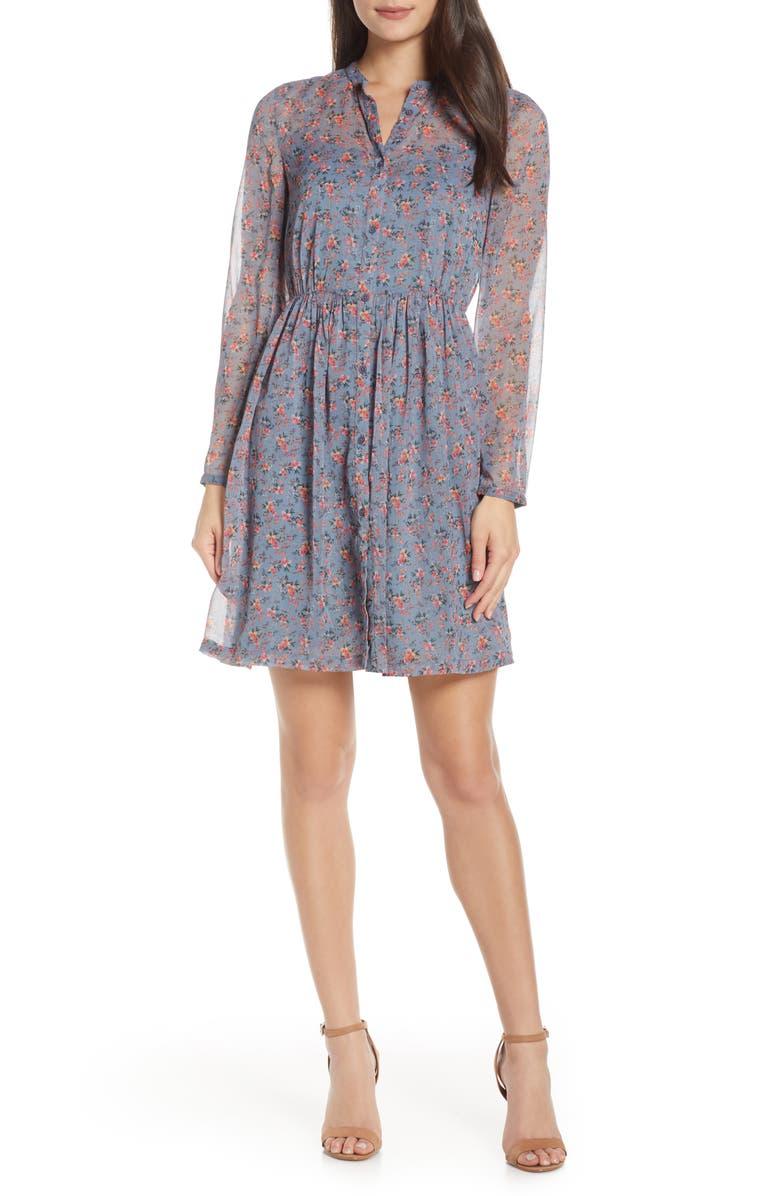 Fifine Long Sleeve Crinkle Dress
