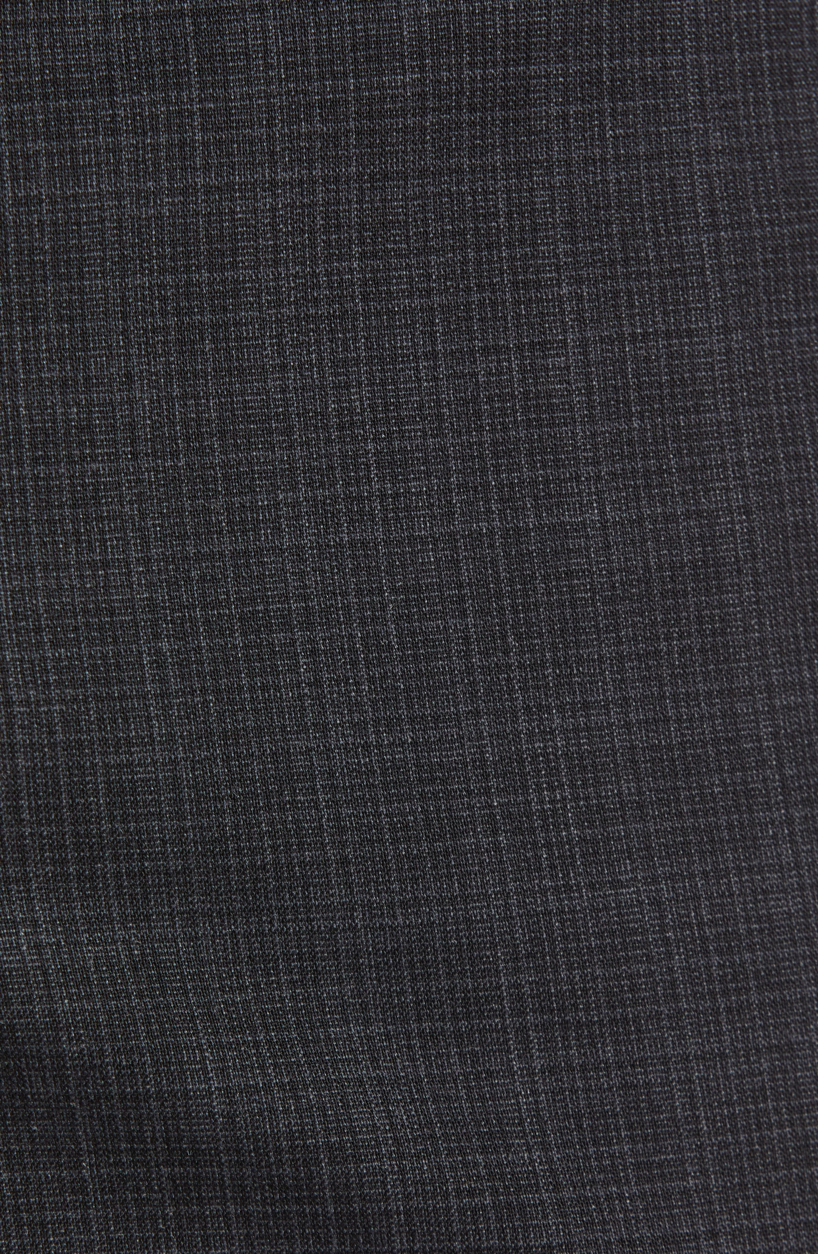 Trim Fit Flat Front Stretch Wool Pants,                             Alternate thumbnail 5, color,                             BLACK