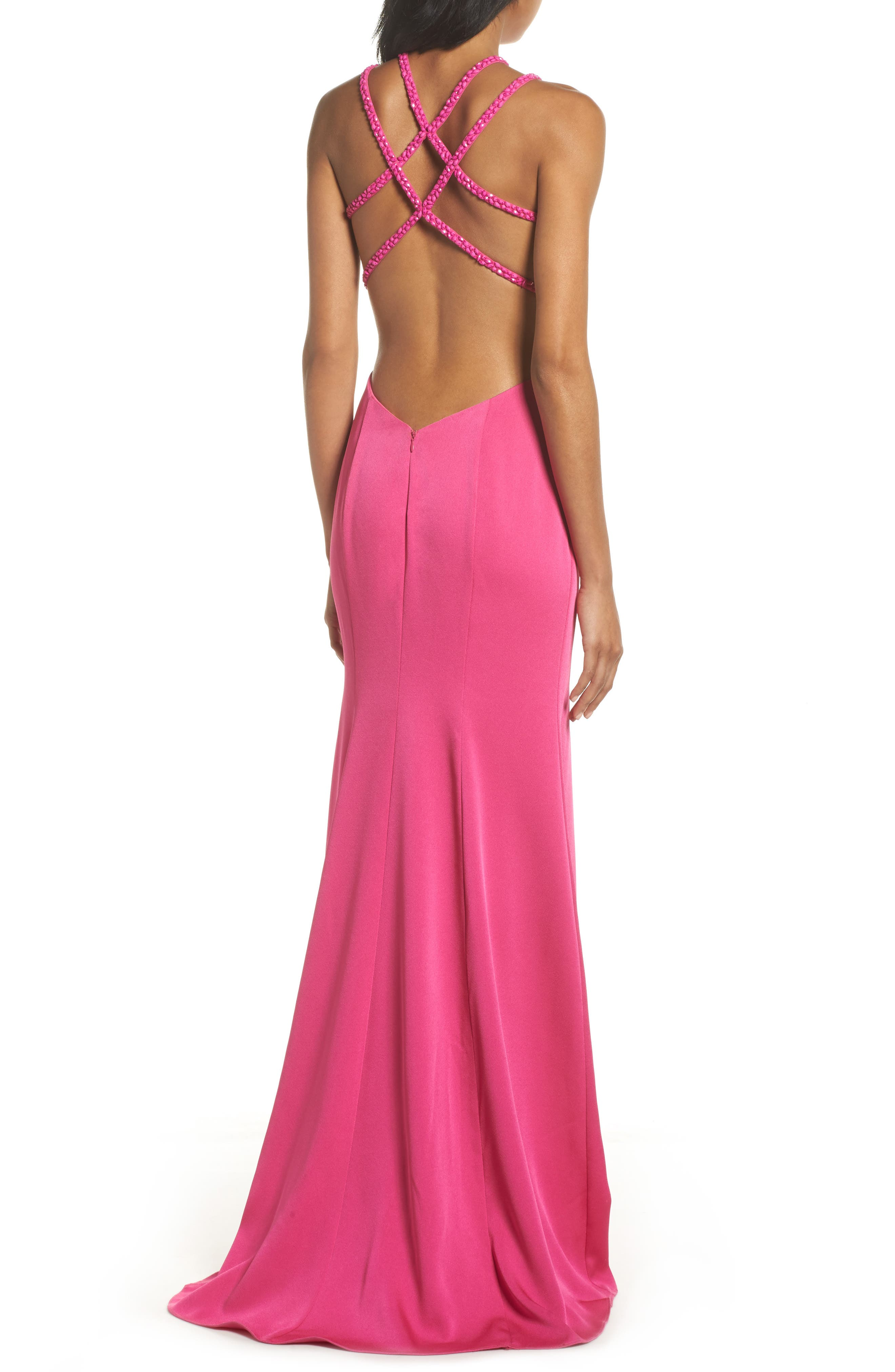 Beaded Strap Satin Gown,                             Alternate thumbnail 4, color,