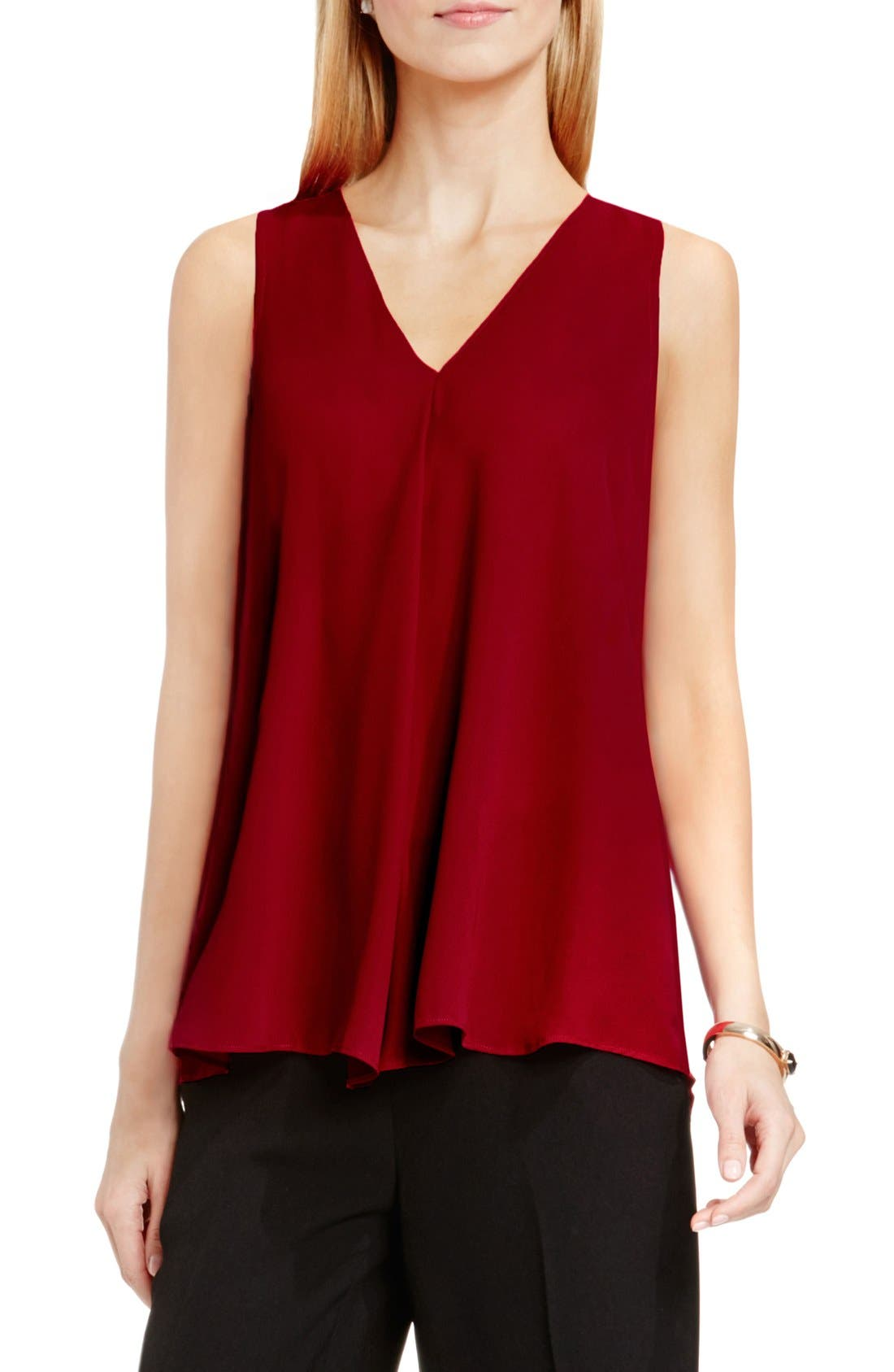 Drape Front V-Neck Sleeveless Blouse,                             Main thumbnail 18, color,