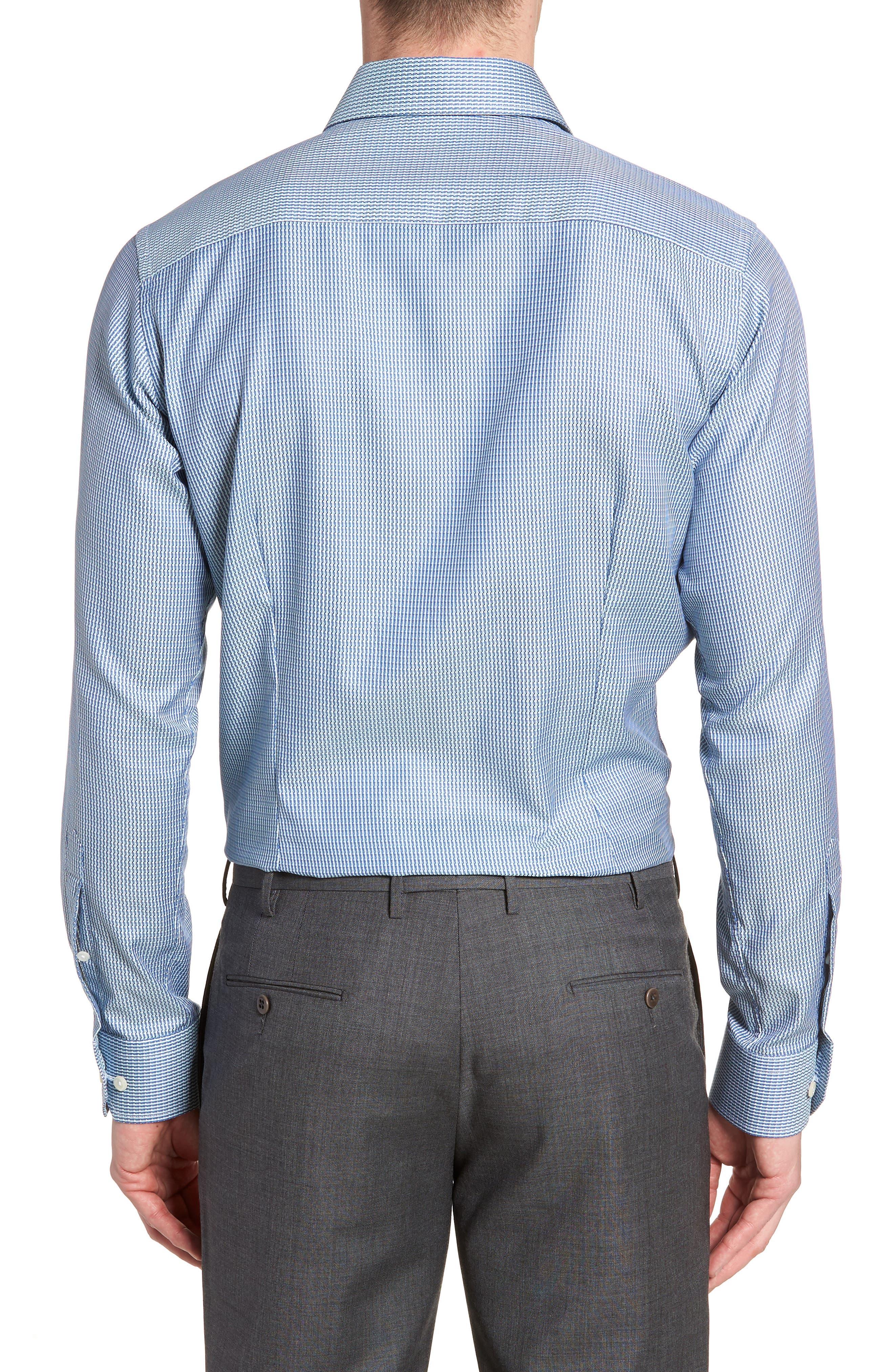 Contemporary Fit Pattern Jacquard Dress Shirt,                             Alternate thumbnail 3, color,                             400