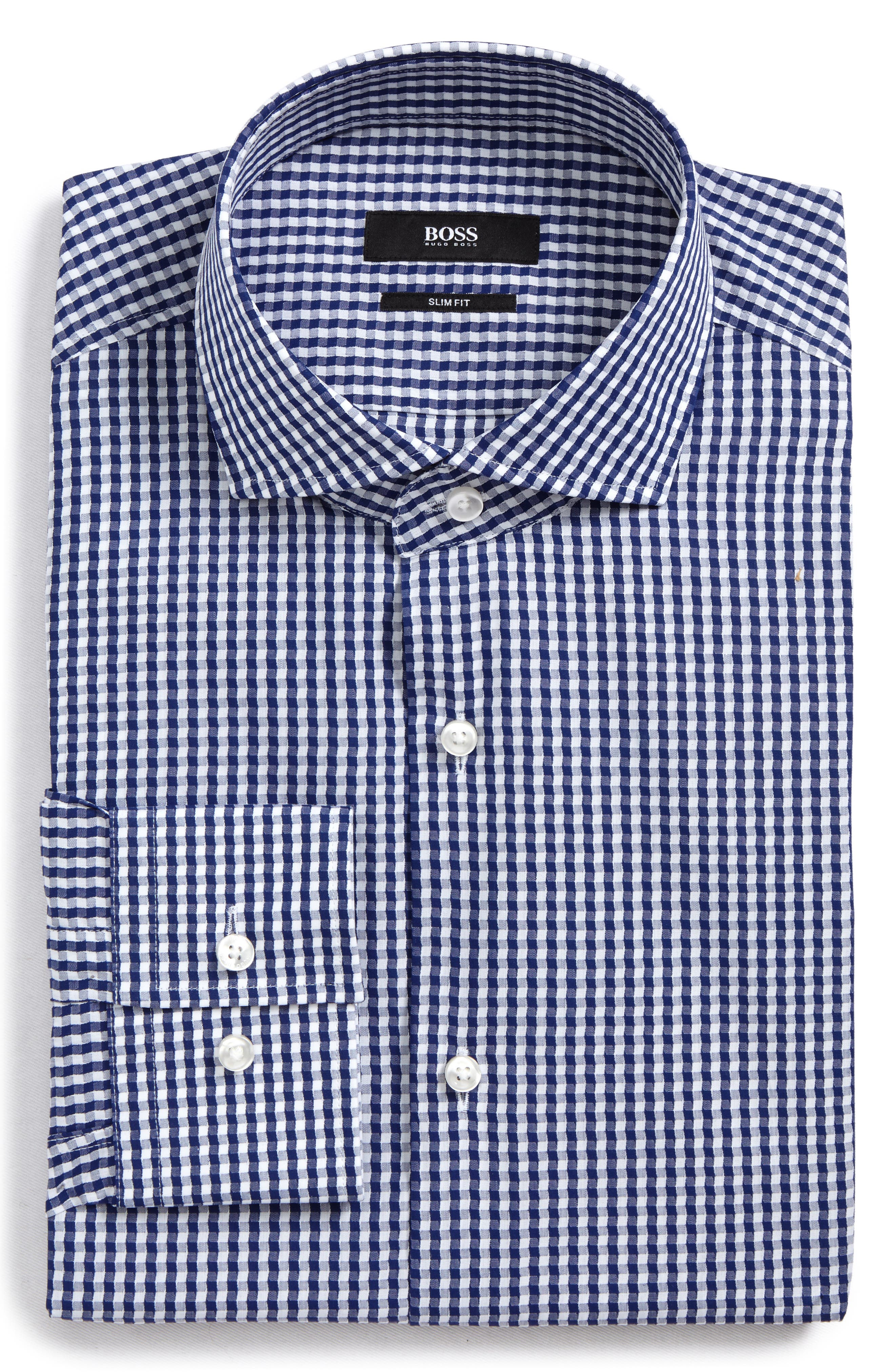 Jason Slim Fit Check Dress Shirt,                             Main thumbnail 1, color,                             410