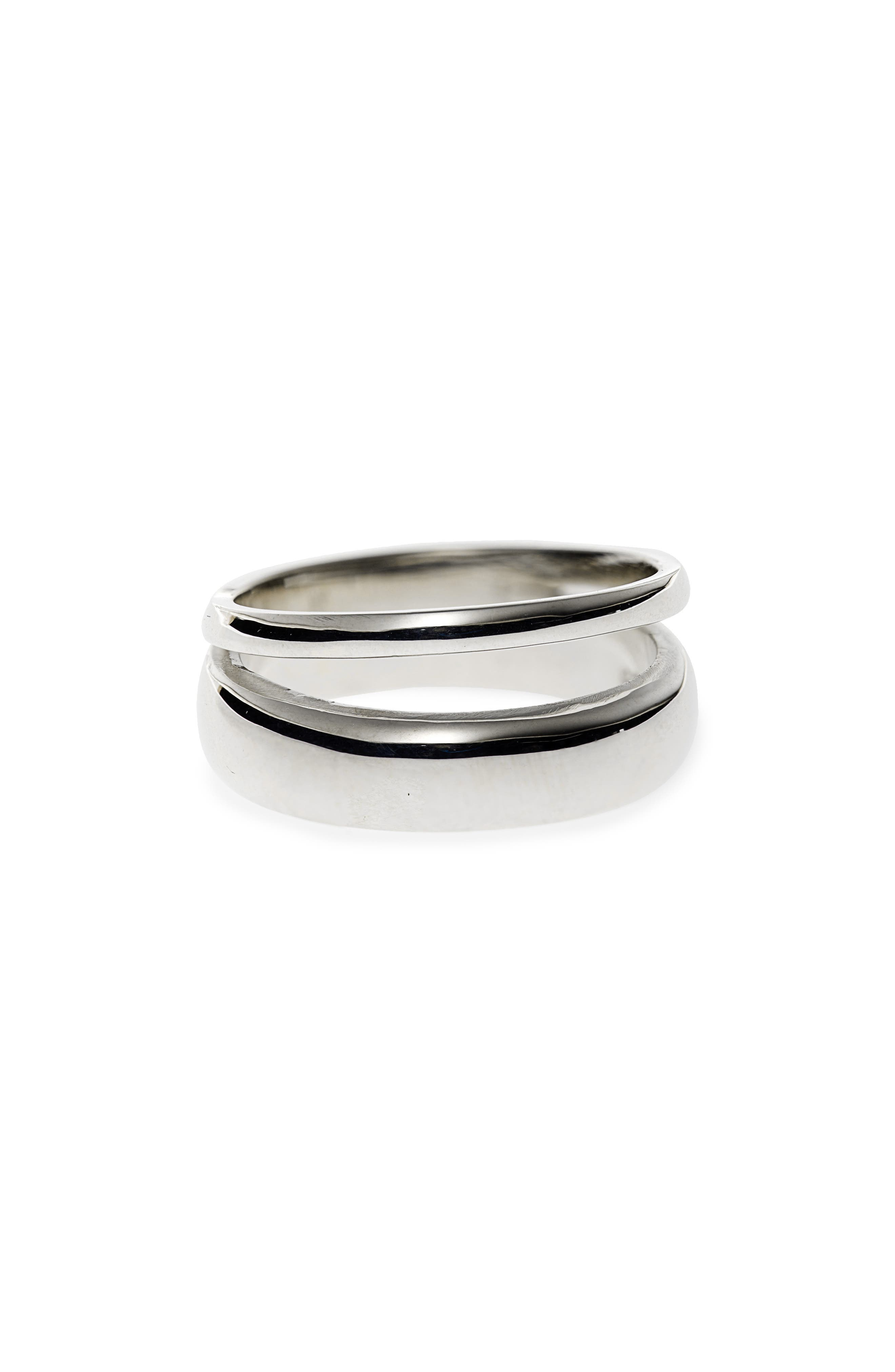 Double Band Ring,                         Main,                         color, STERLING SILVER