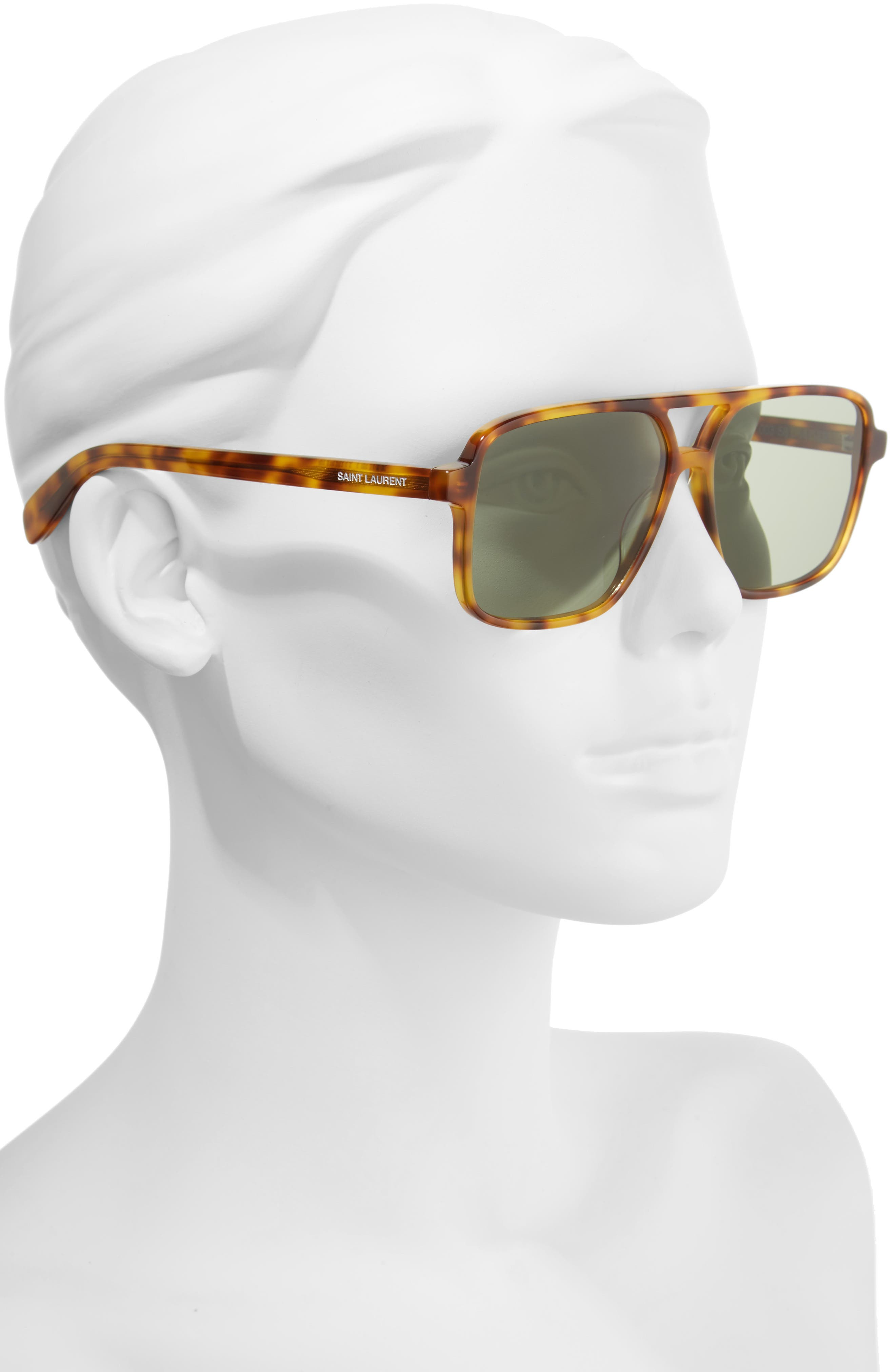58mm Square Navigator Sunglasses,                             Alternate thumbnail 2, color,                             HAVANA/ HAVANA/ GREEN