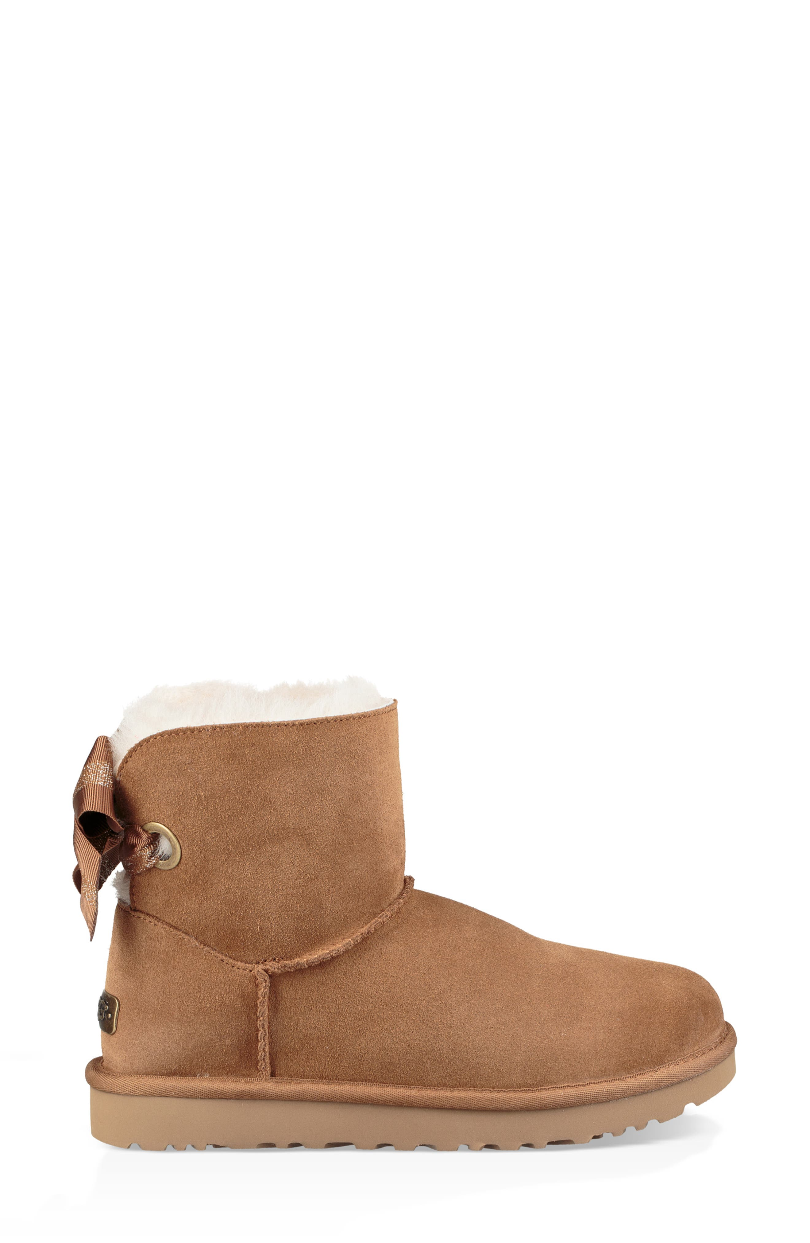 Customizable Bailey Bow Mini Genuine Shearling Bootie,                             Alternate thumbnail 3, color,                             CHESTNUT SUEDE
