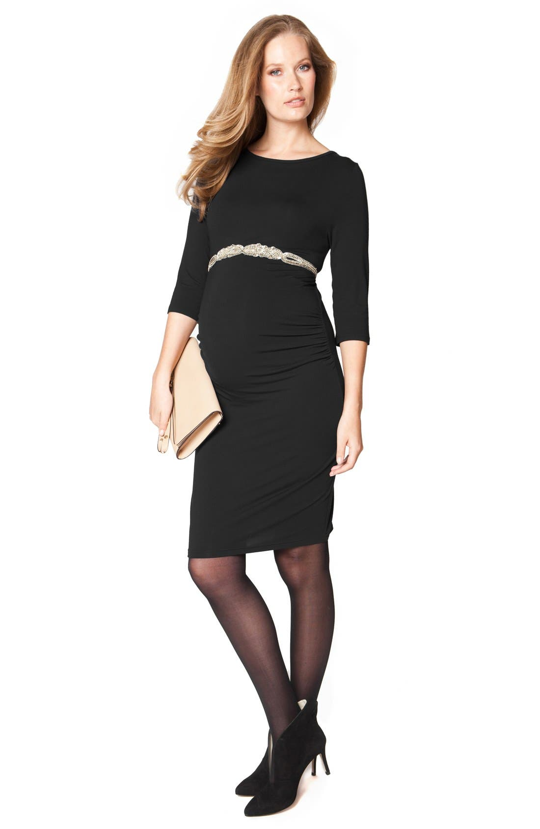 'Tessa' Ruched Shift Maternity Dress,                             Alternate thumbnail 3, color,                             001