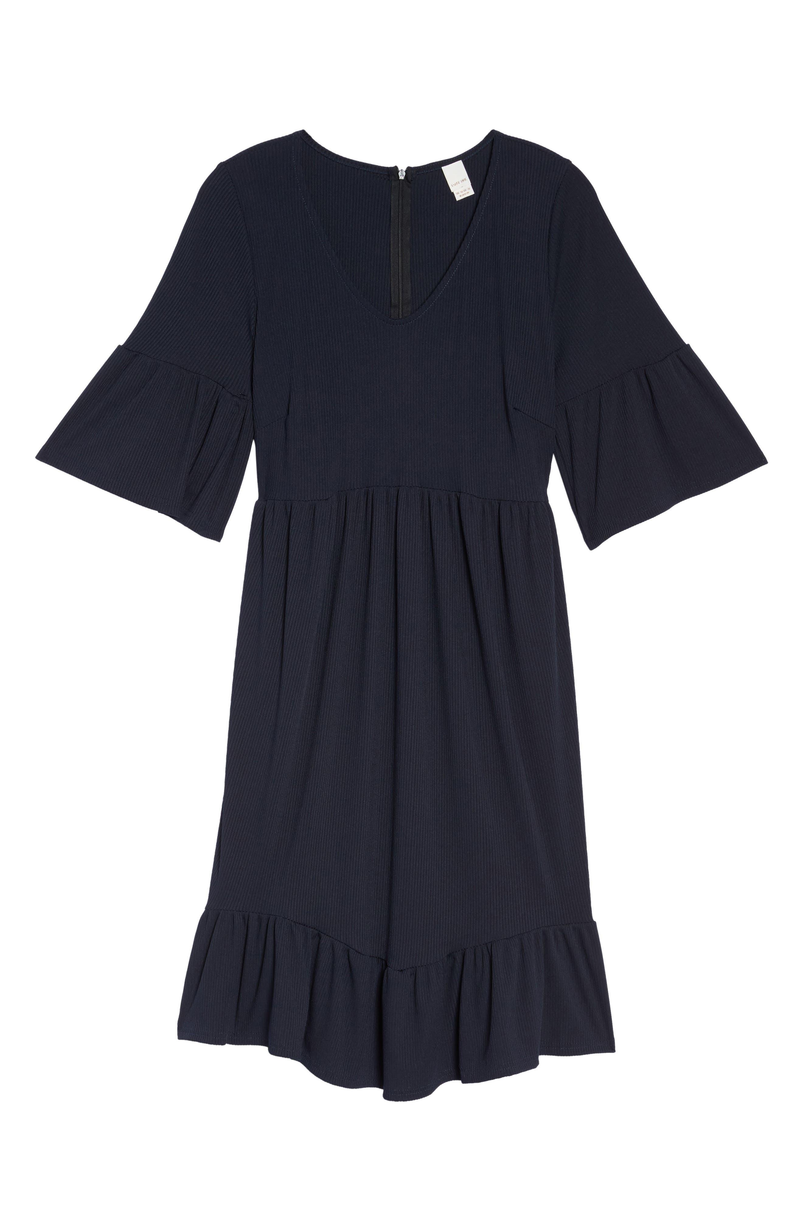 Ruffle Ribbed Knit Dress,                             Alternate thumbnail 6, color,                             410