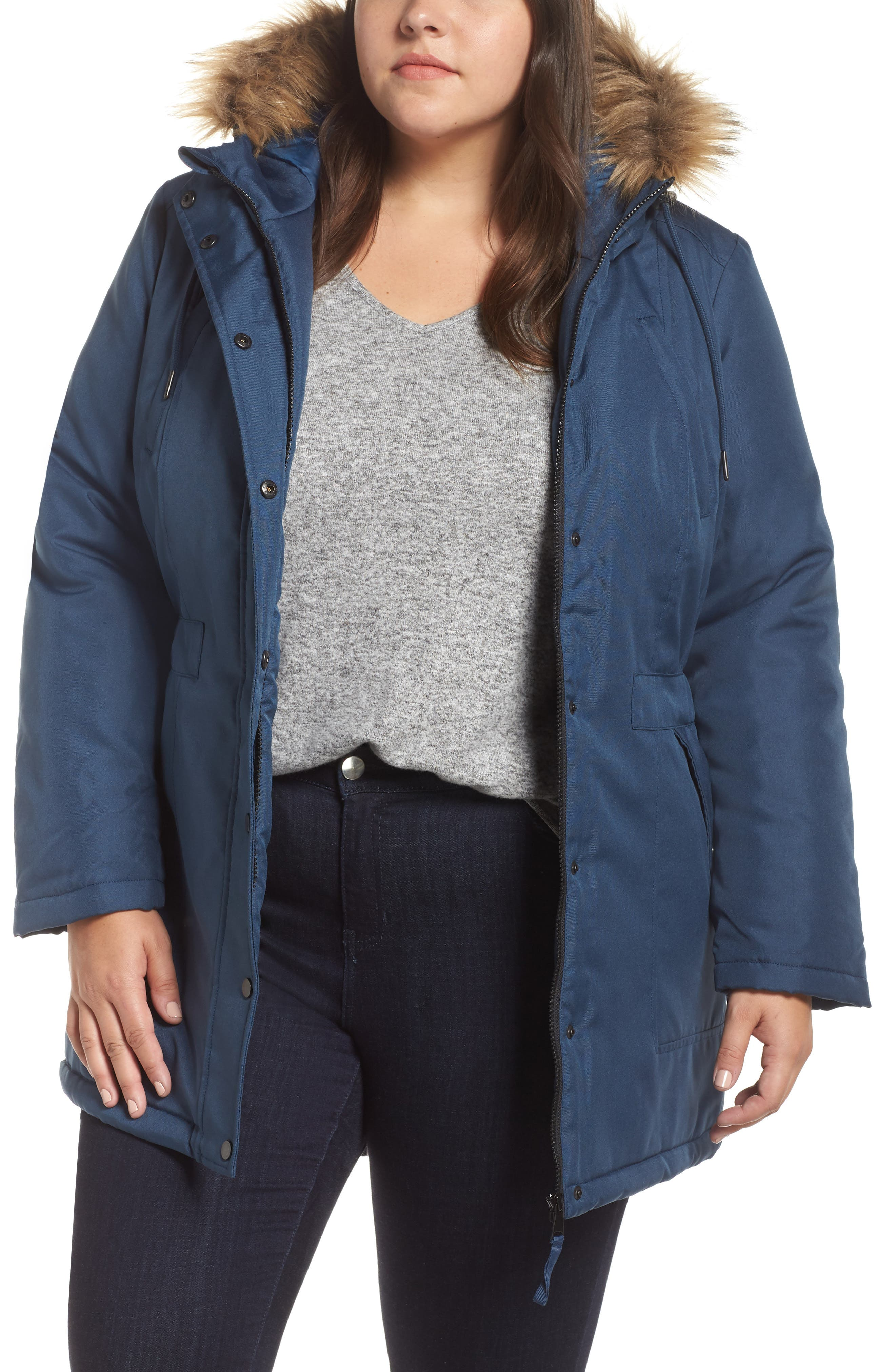 Plus Size Junarose Luppa Expedition Parka With Faux Fur Trim, Blue