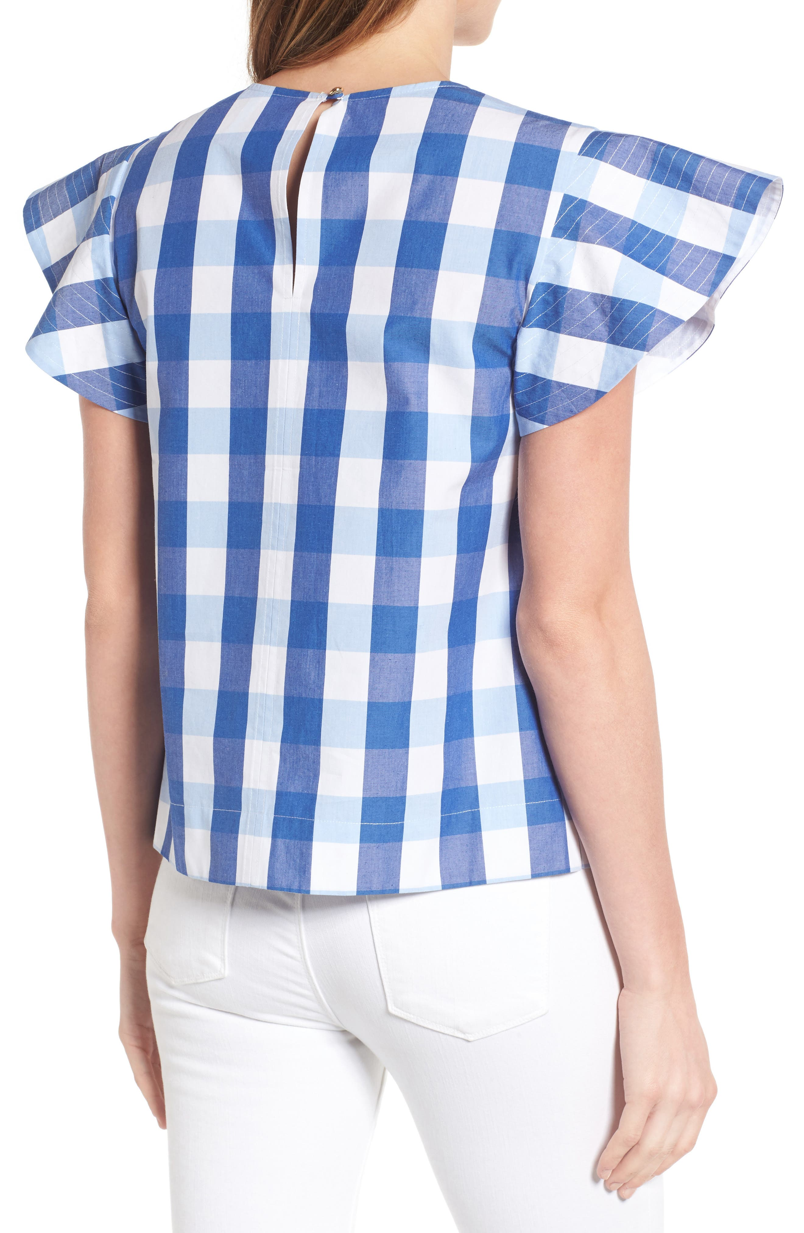 Cloister Gingham Cotton Top,                             Alternate thumbnail 3, color,