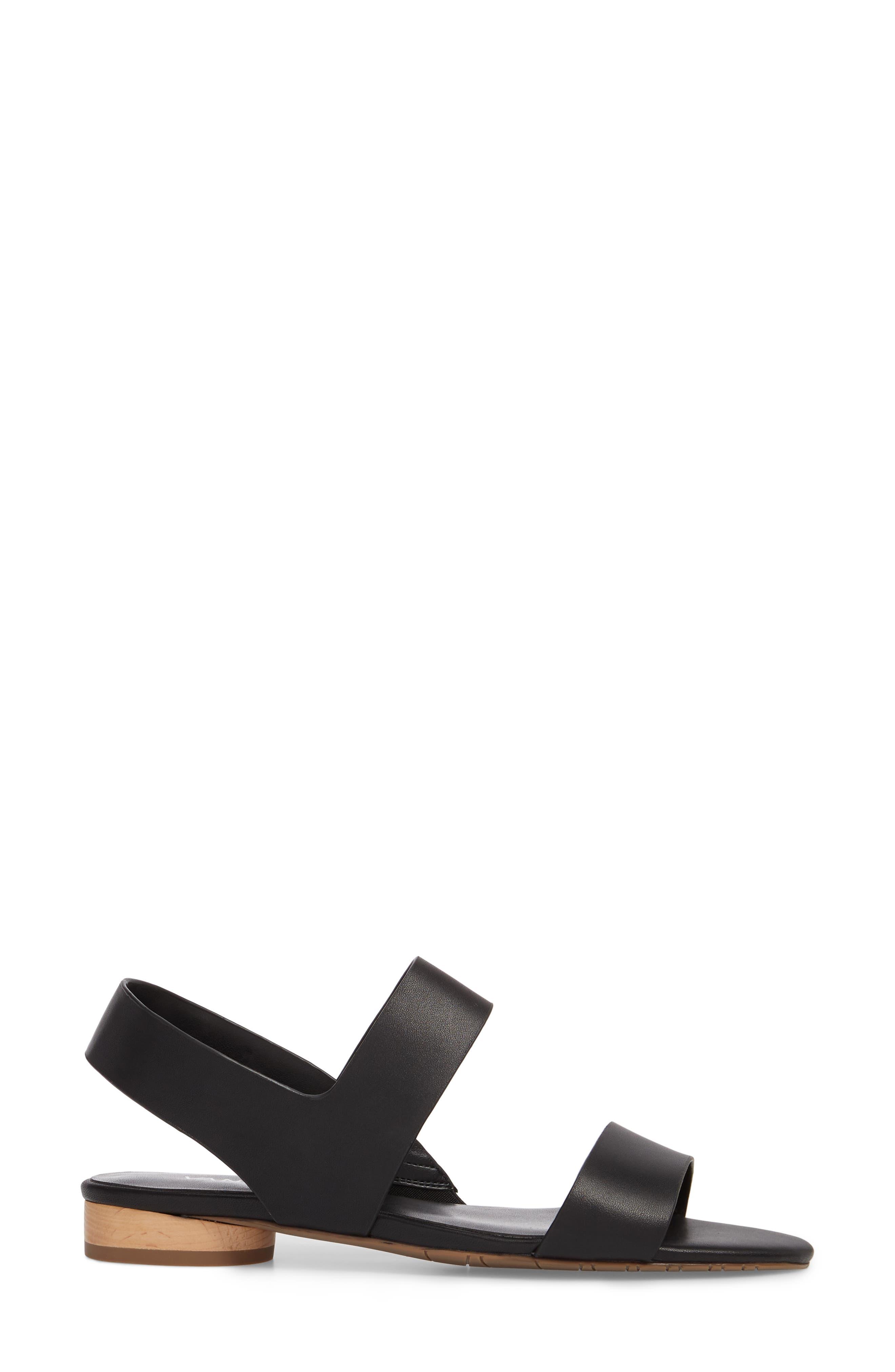 Blanka Sandal,                             Alternate thumbnail 3, color,                             BLACK LEATHER