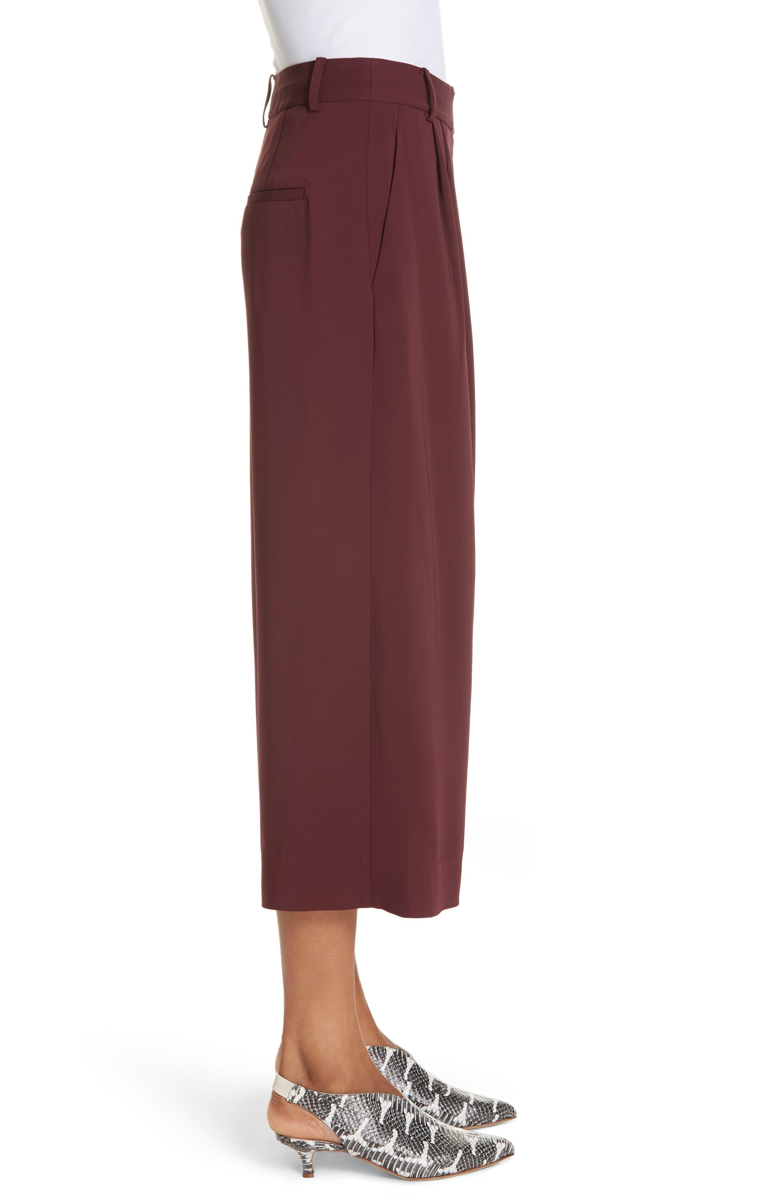 TIBI,                             Stella Stretch Suiting Crop Pants,                             Alternate thumbnail 3, color,                             DARK CURRANT