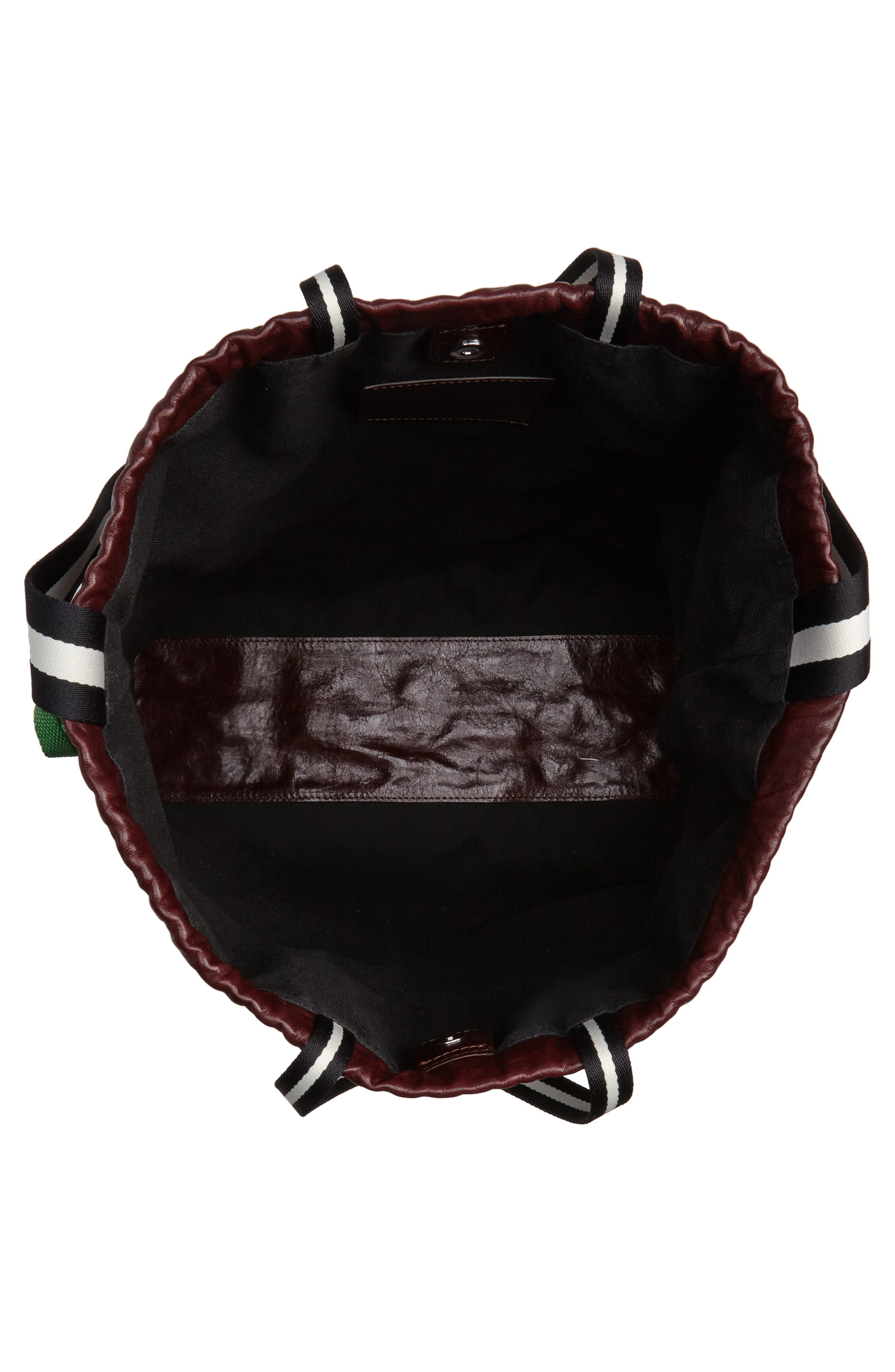 Wefty Drawstring Bucket Bag,                             Alternate thumbnail 4, color,                             OXBLOOD