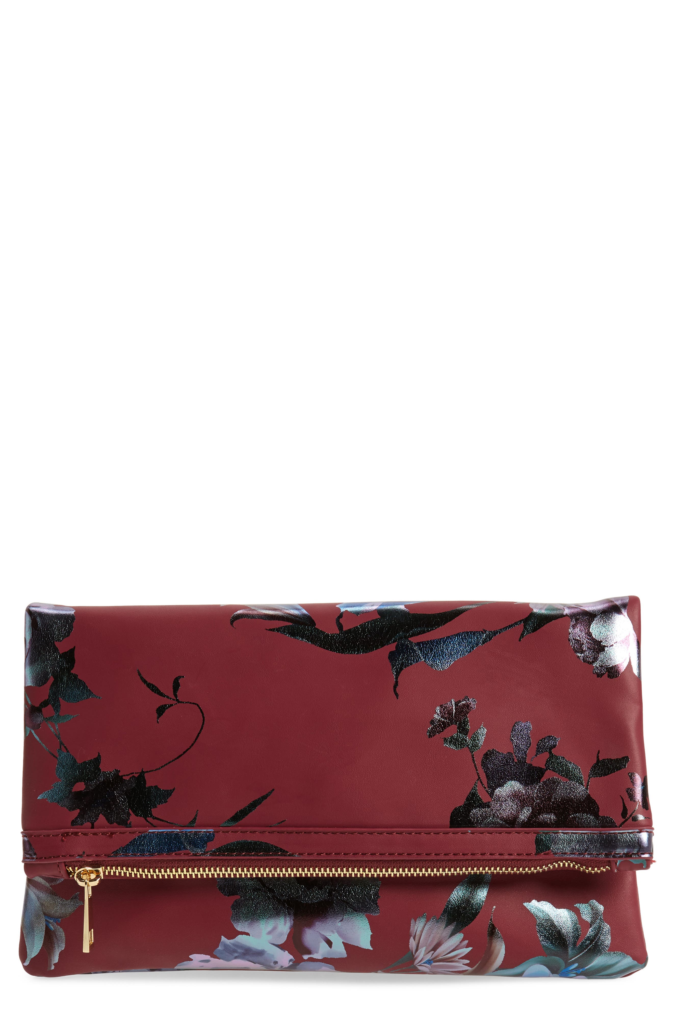 Floral Print Foldover Clutch,                             Main thumbnail 1, color,                             BURGUNDY MULTI