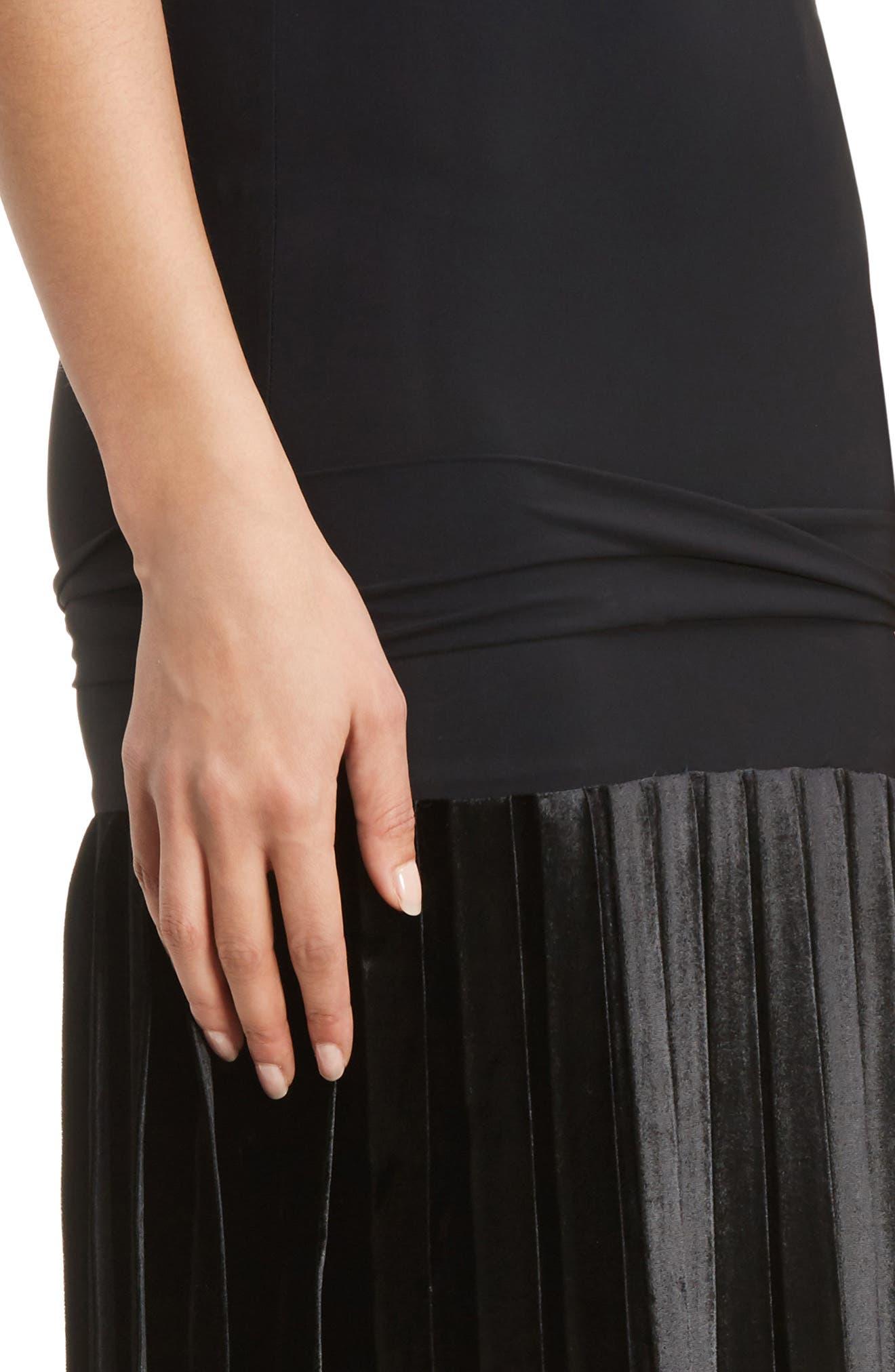 Velvet Skirt Tank Dress,                             Alternate thumbnail 4, color,                             001