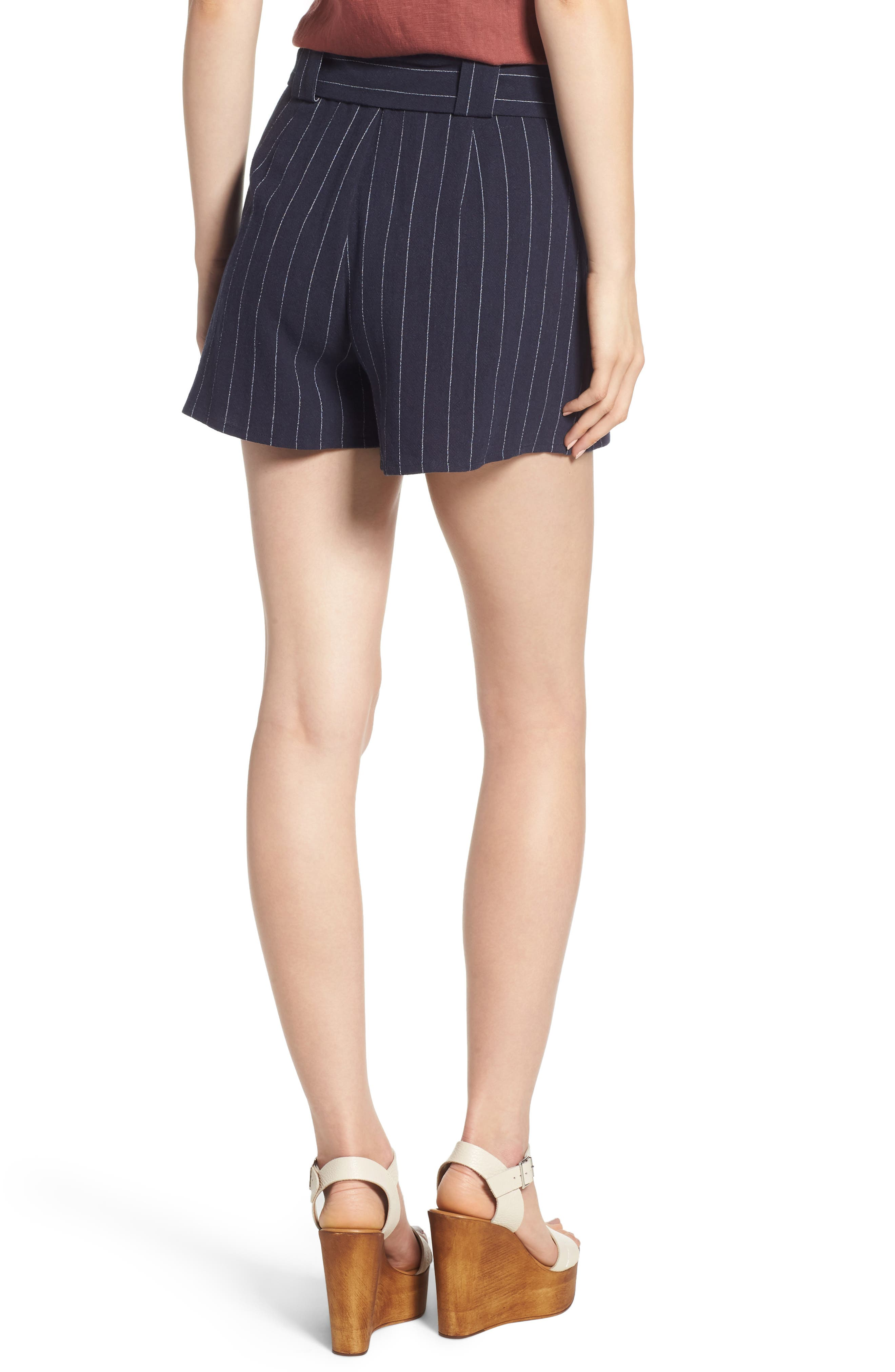 Stripe Tie Waist Shorts,                             Alternate thumbnail 2, color,                             BLUE STRIPE