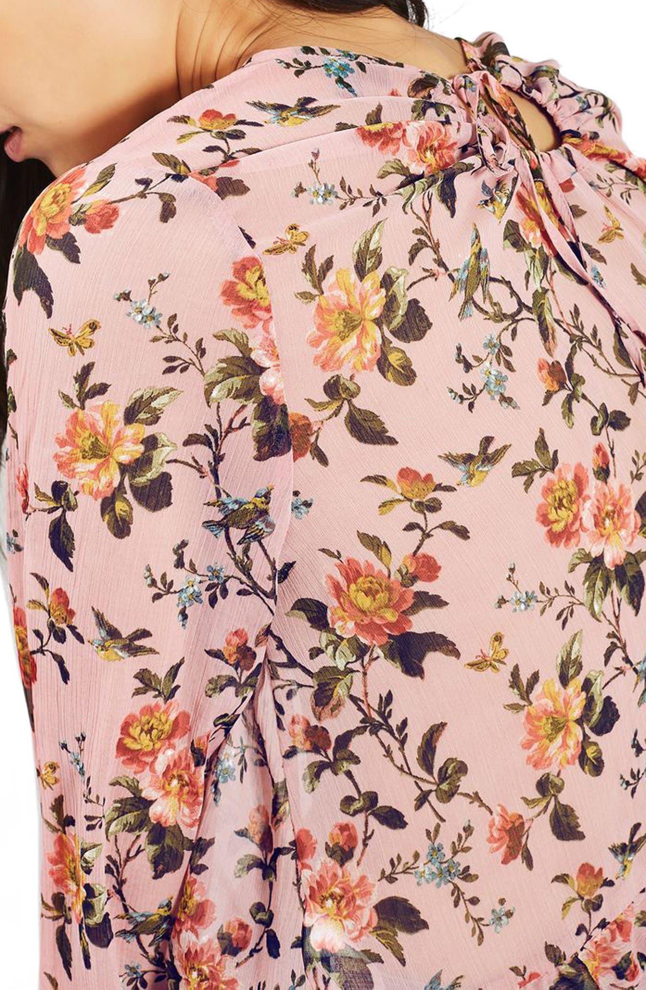 Floral Trumpet Sleeve Blouse,                             Alternate thumbnail 3, color,                             650