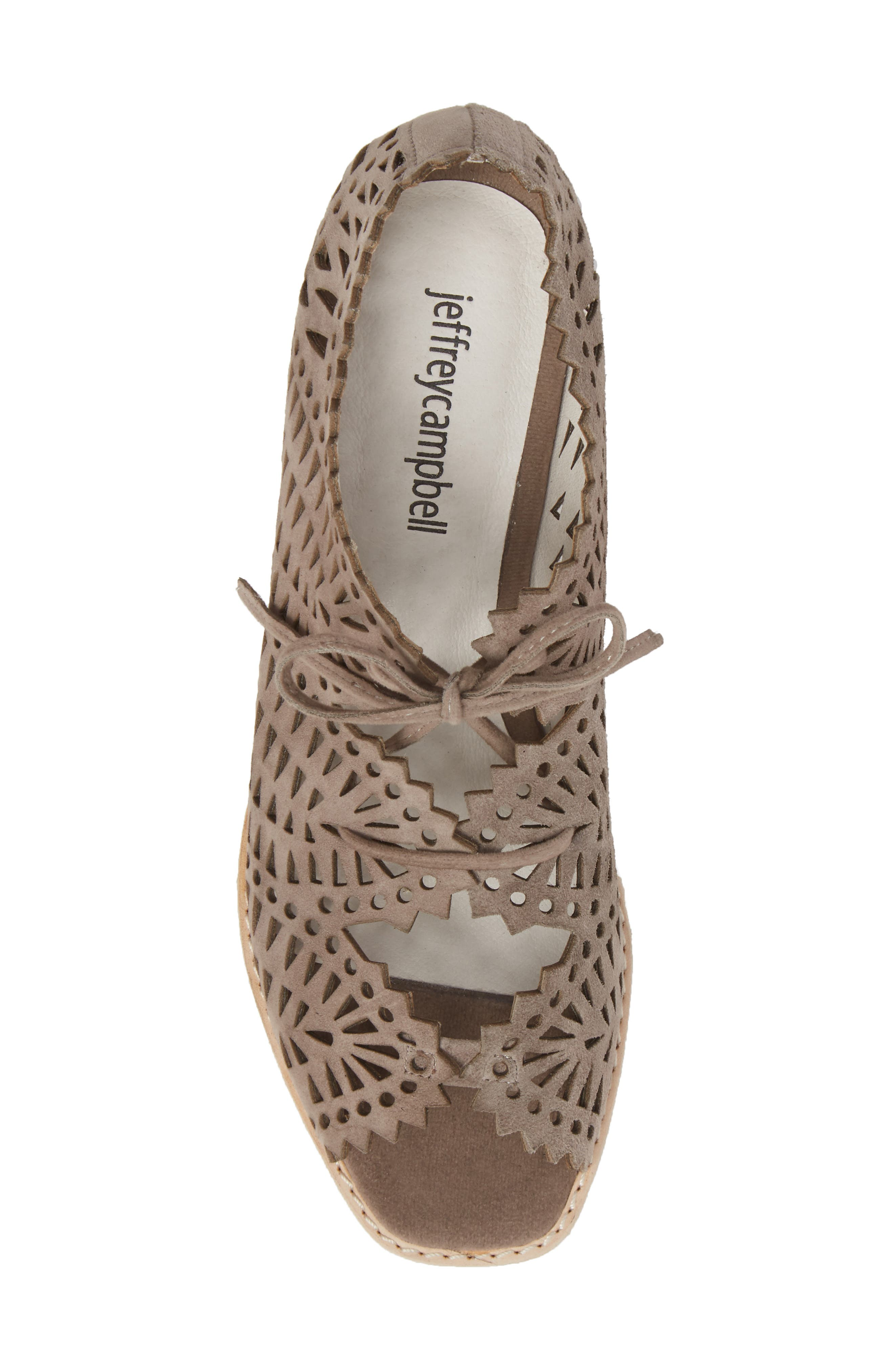 Espejo Lace-Up Wedge,                             Alternate thumbnail 5, color,                             TAUPE SUEDE