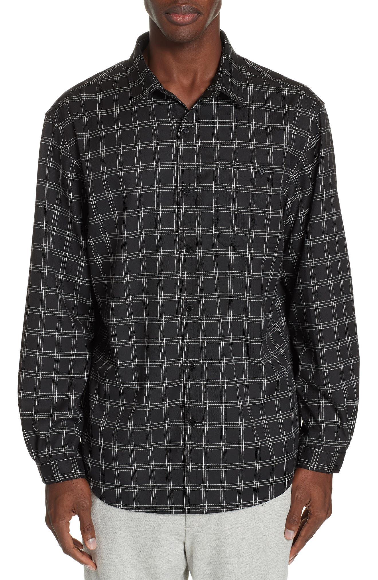 Core Flannel Shirt,                         Main,                         color, BLACK