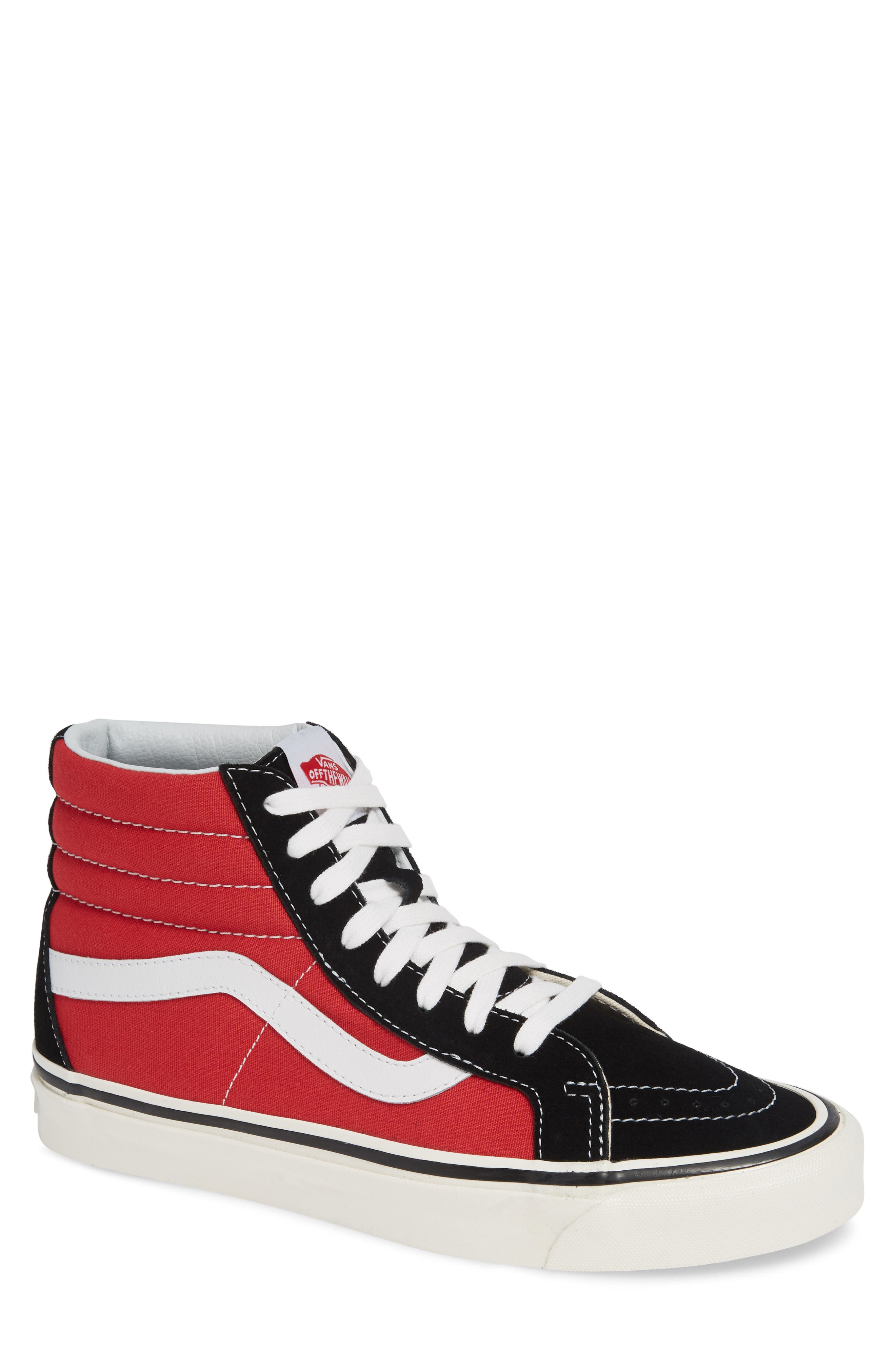 UA Sk8-Hi 38 DX Sneaker,                             Main thumbnail 1, color,                             OG BLACK/ OG RED CANVAS