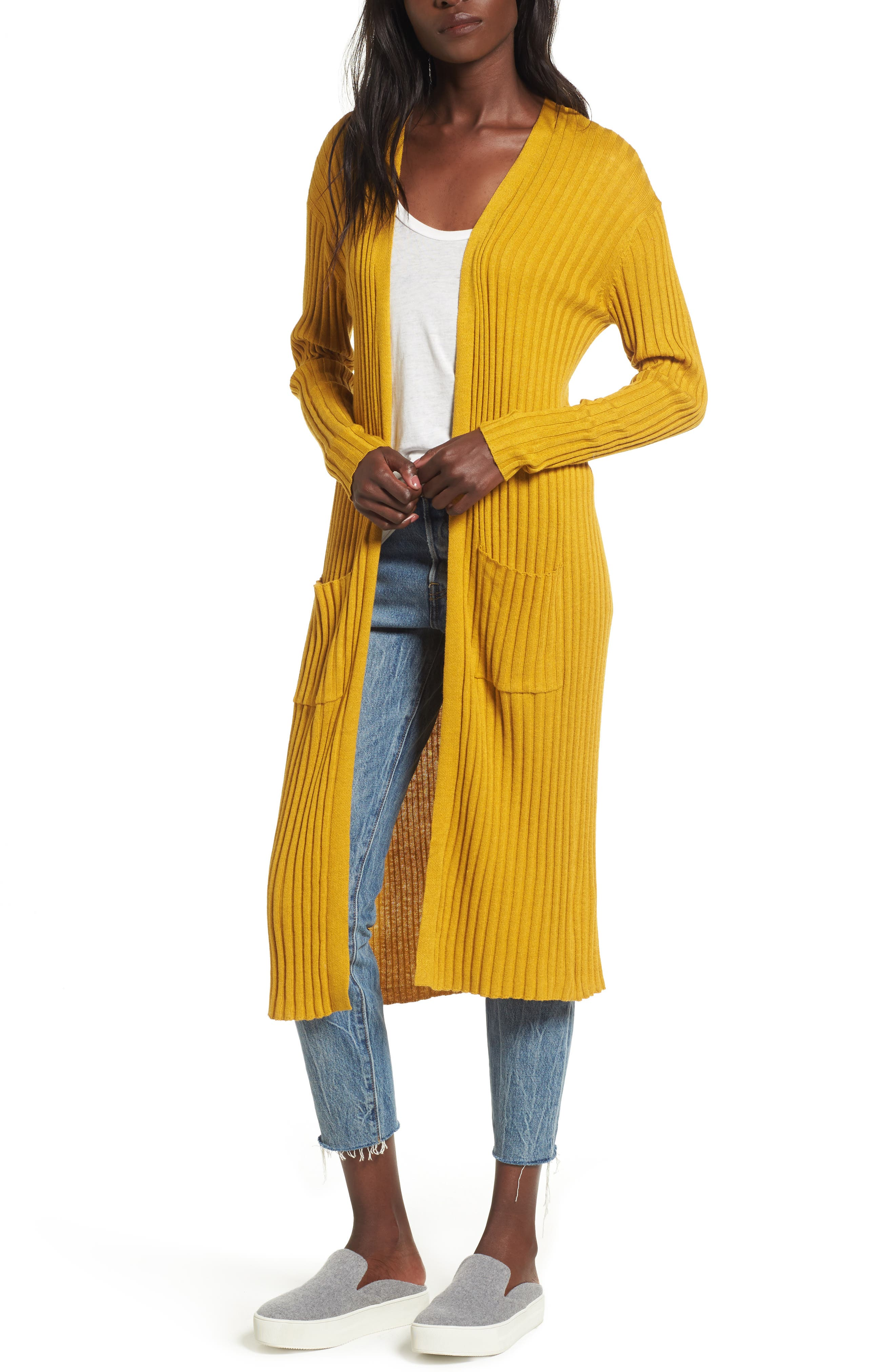 Rib Knit Midi Cardigan,                             Main thumbnail 1, color,