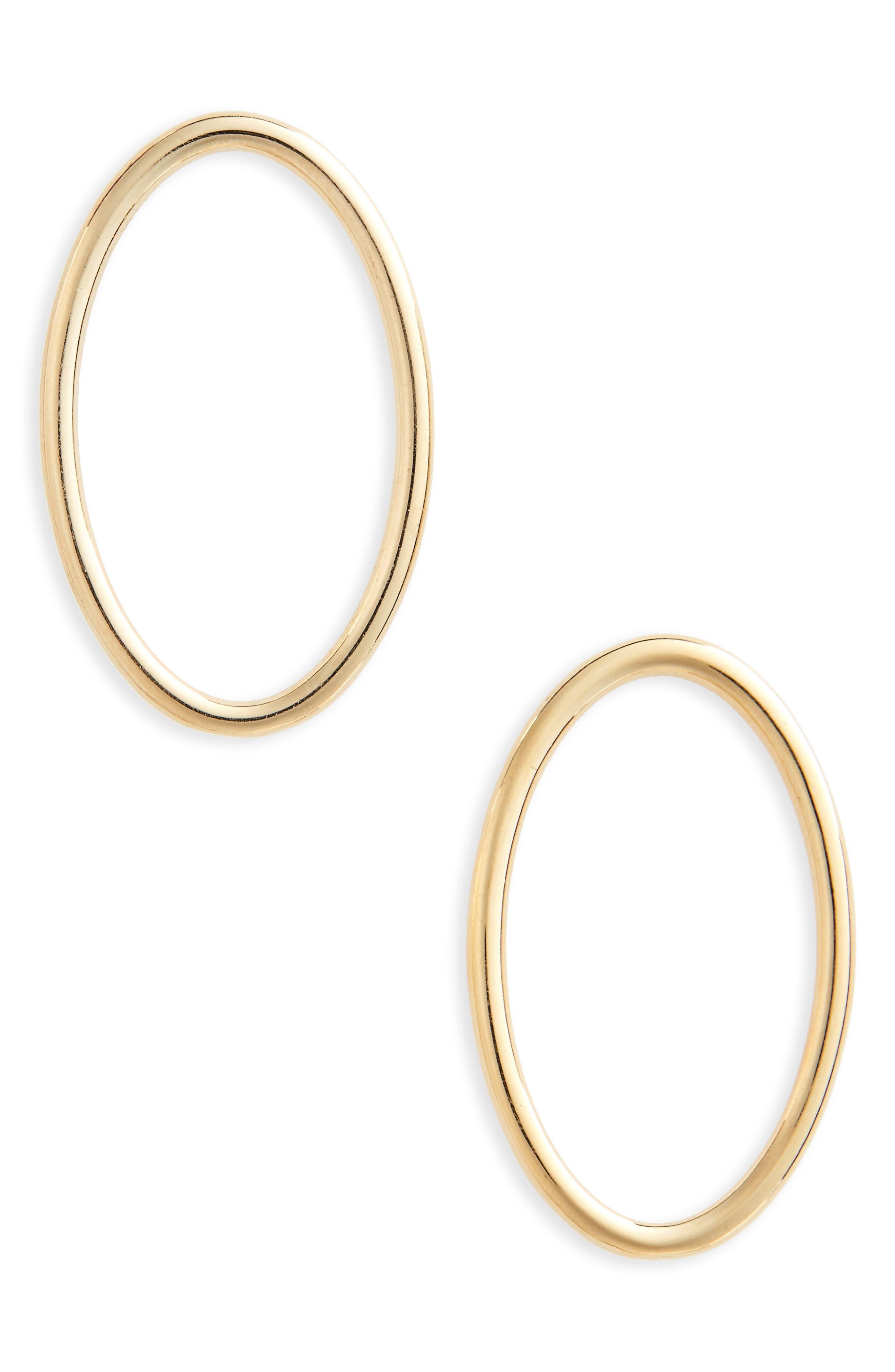 Large Ellipse Polished Vermeil Earrings,                             Main thumbnail 1, color,                             POLISHED VERMEIL