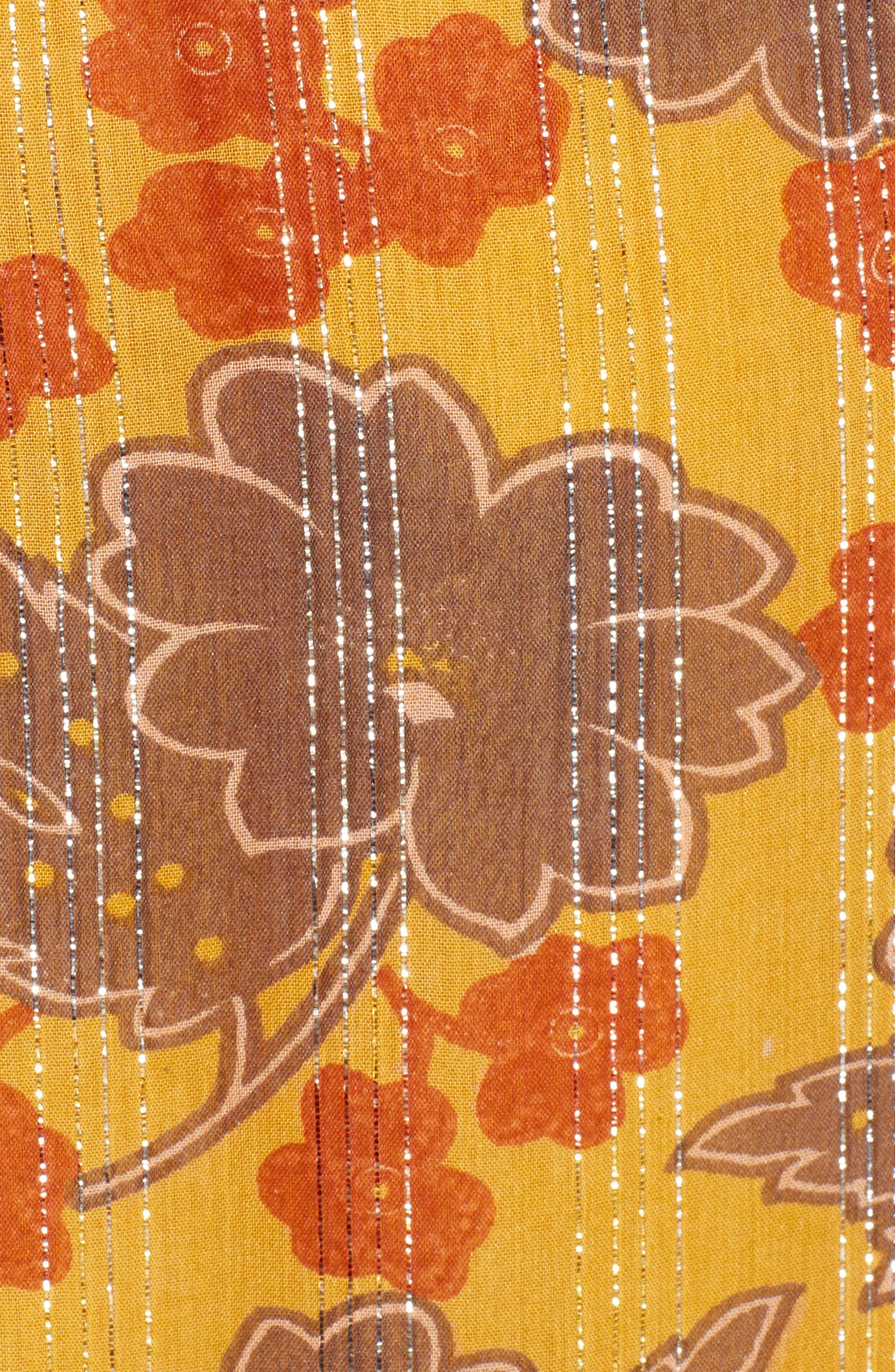Metallic Stripe Floral Print Dress,                             Alternate thumbnail 5, color,                             YELLOW AND BURGUNDY