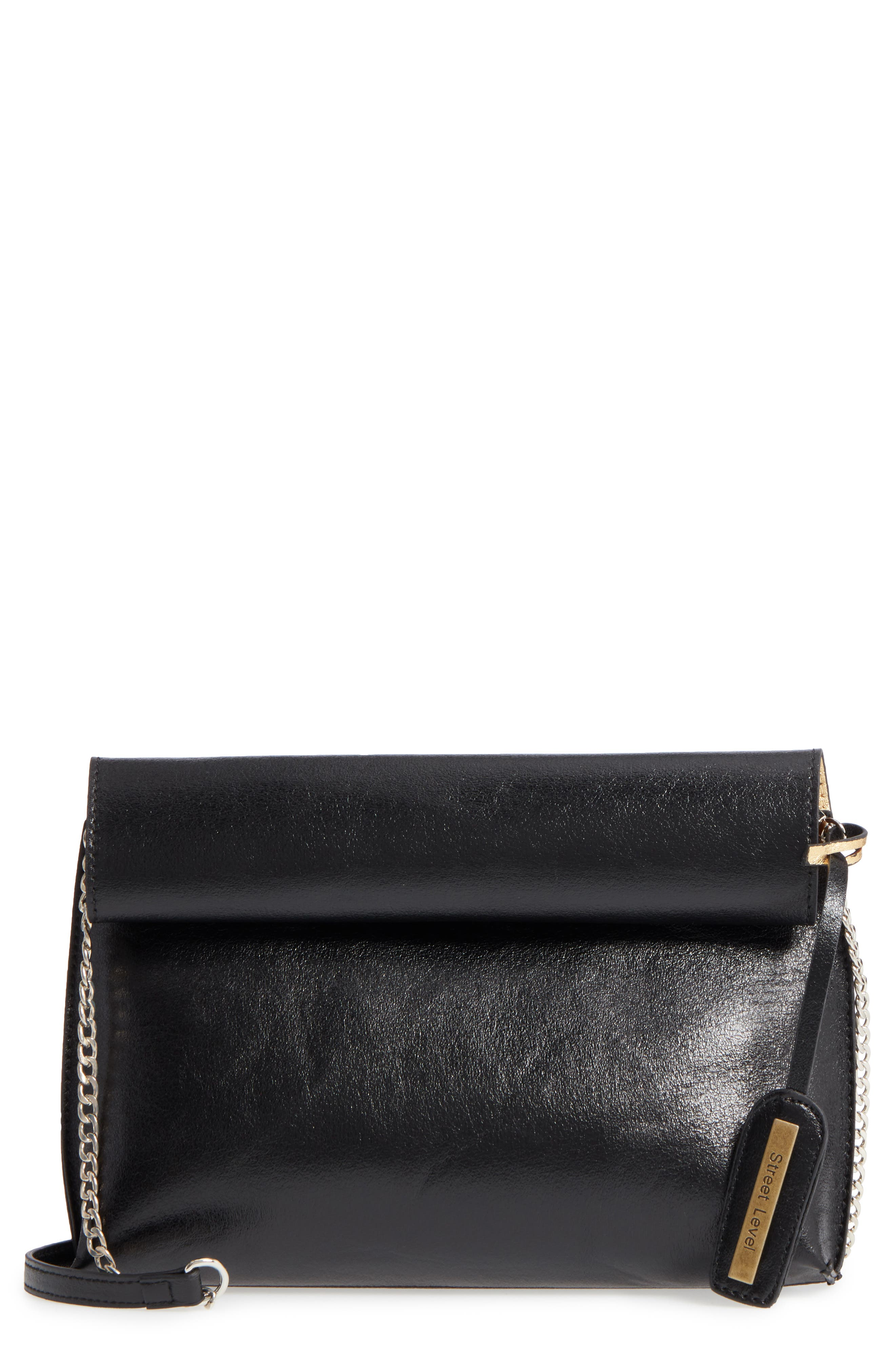 Rolltop Faux Leather Clutch,                         Main,                         color, 003