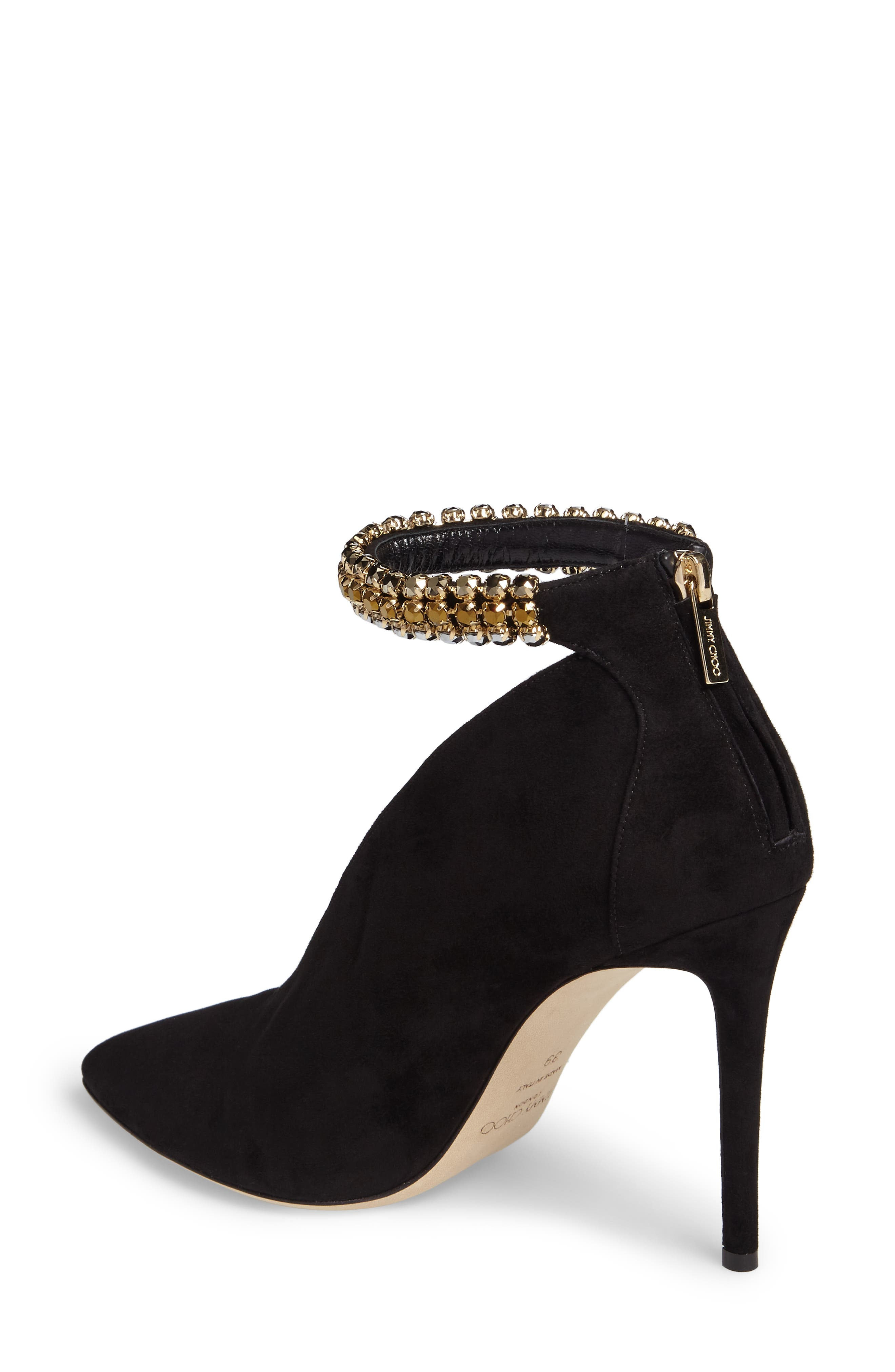 Lux Embellished Ankle Strap Bootie,                             Alternate thumbnail 2, color,                             001