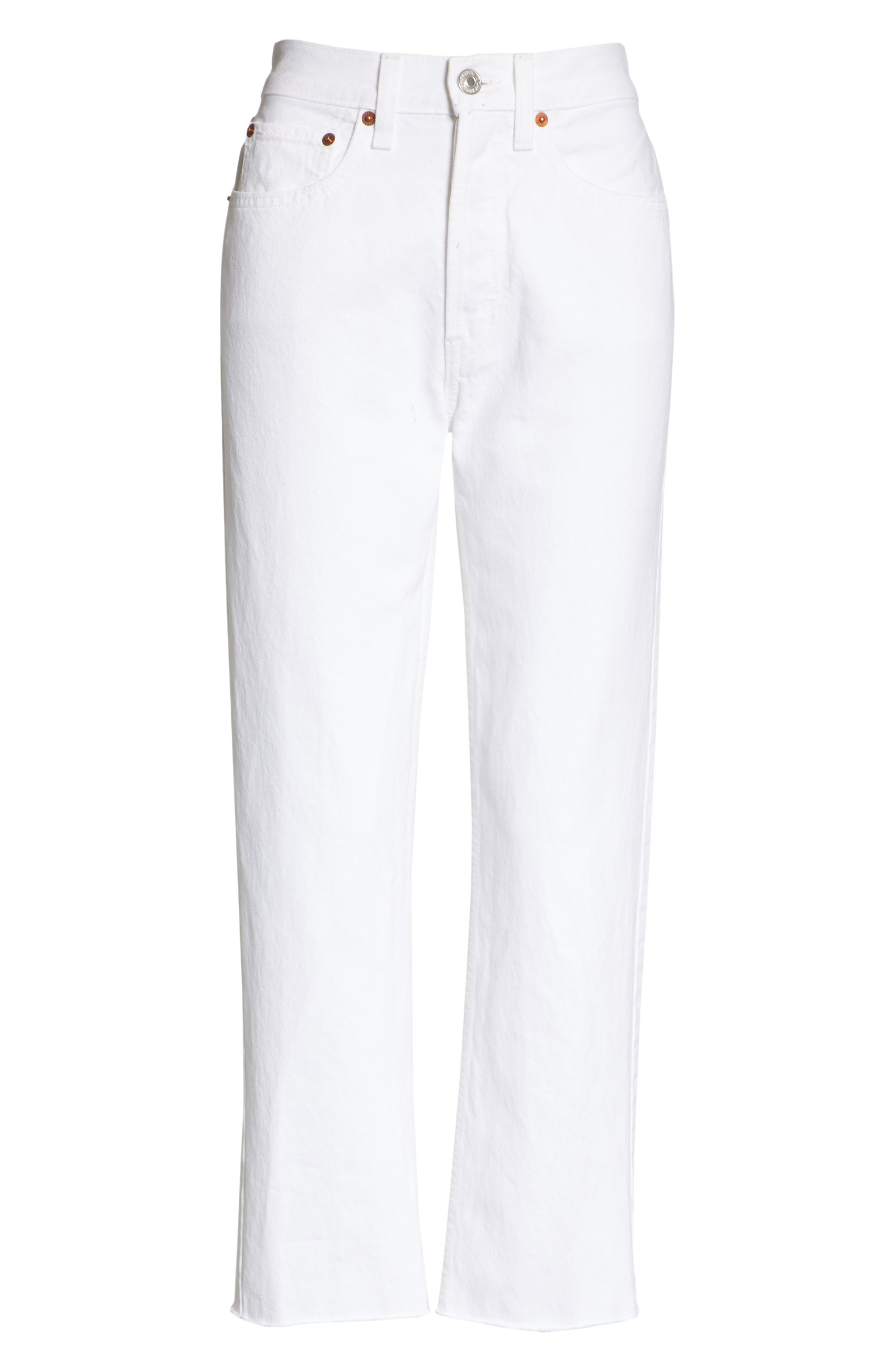 Originals High Waist Stove Pipe Jeans,                             Alternate thumbnail 7, color,                             WHITE