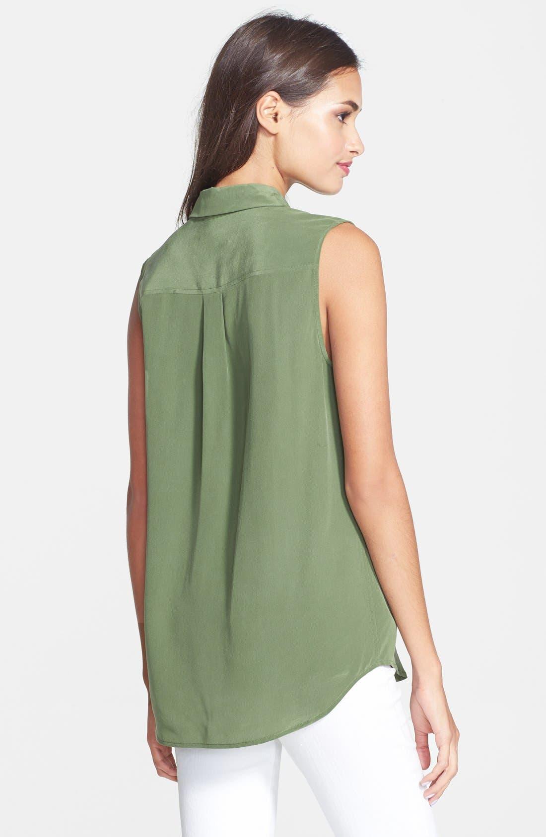 'Slim Signature' Sleeveless Silk Shirt,                             Alternate thumbnail 61, color,