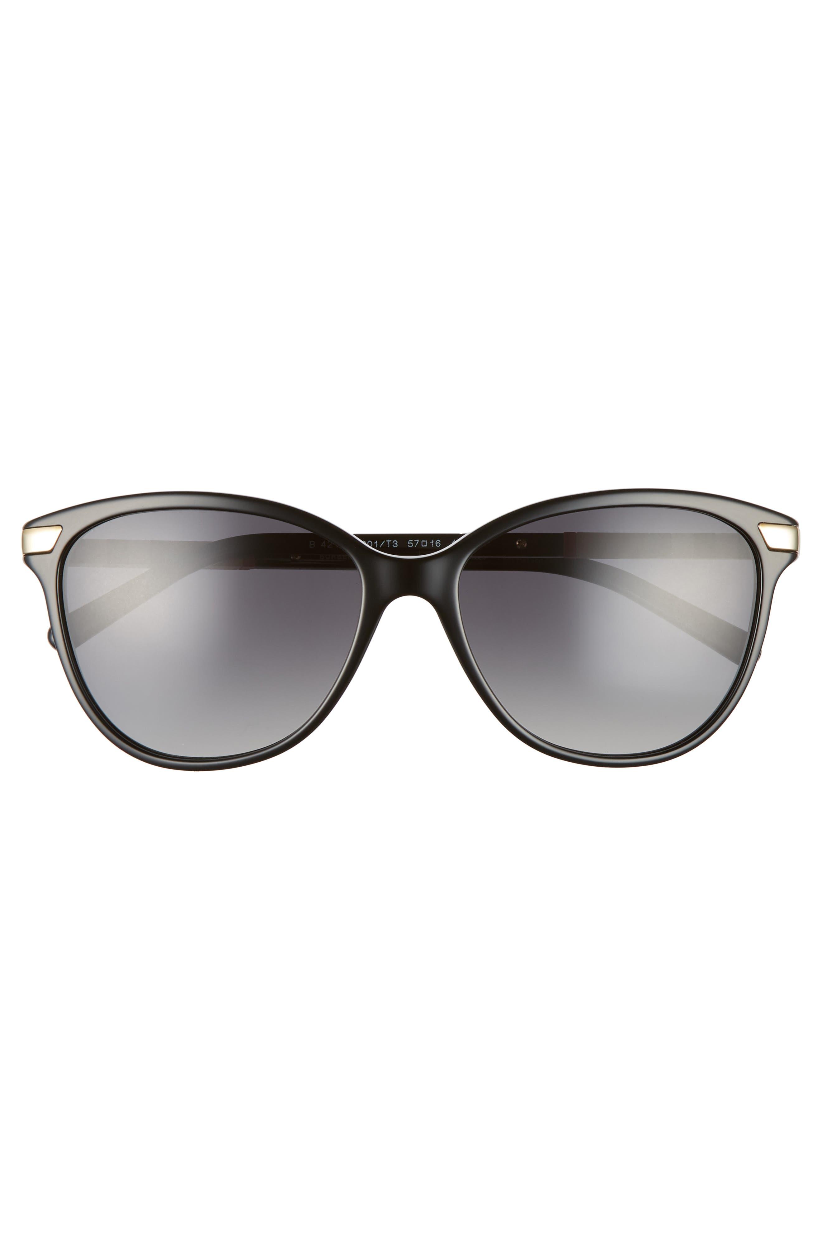 Check 57mm Polarized Gradient Cat Eye Sunglasses,                             Alternate thumbnail 3, color,                             BLACK/ BLACK GRADIENT