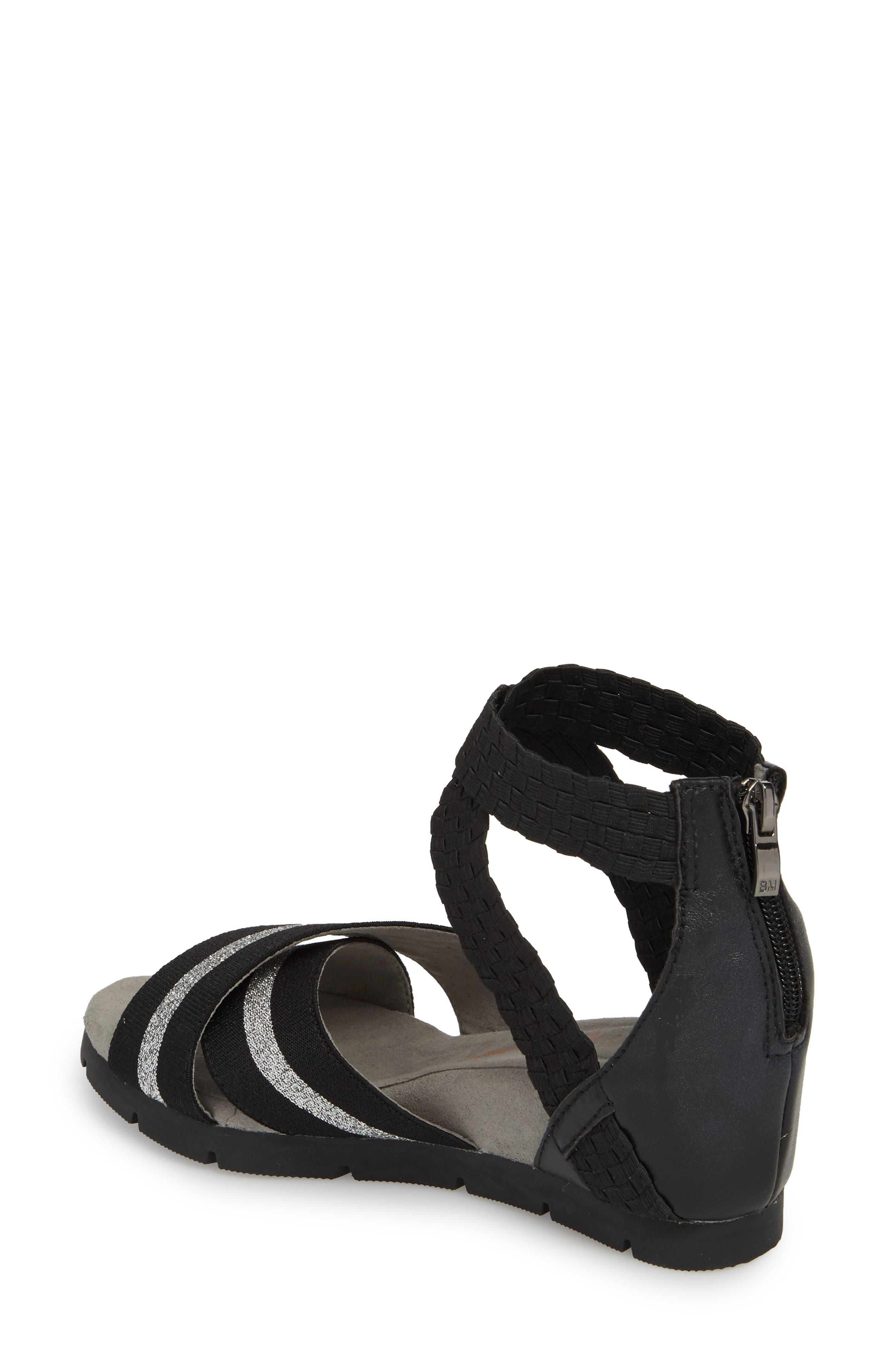 Maldives Wedge Sandal,                             Alternate thumbnail 2, color,                             BLACK FABRIC