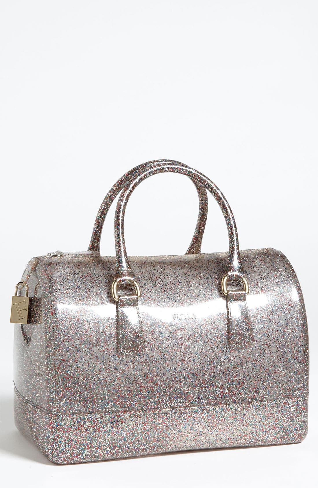 FURLA 'Candy - Glitter' Rubber Satchel, Main, color, 040