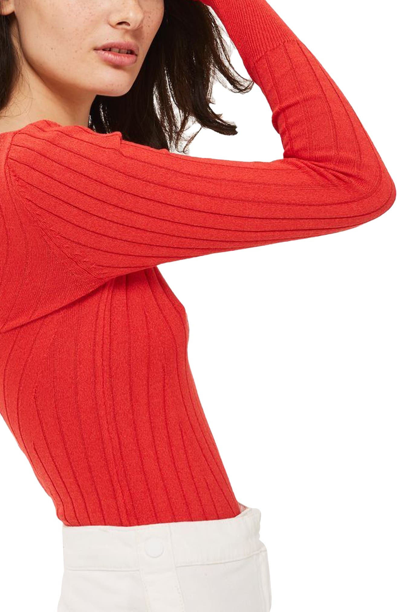 Wide Double V-Neck Ribbed Knit Top,                             Alternate thumbnail 3, color,                             600