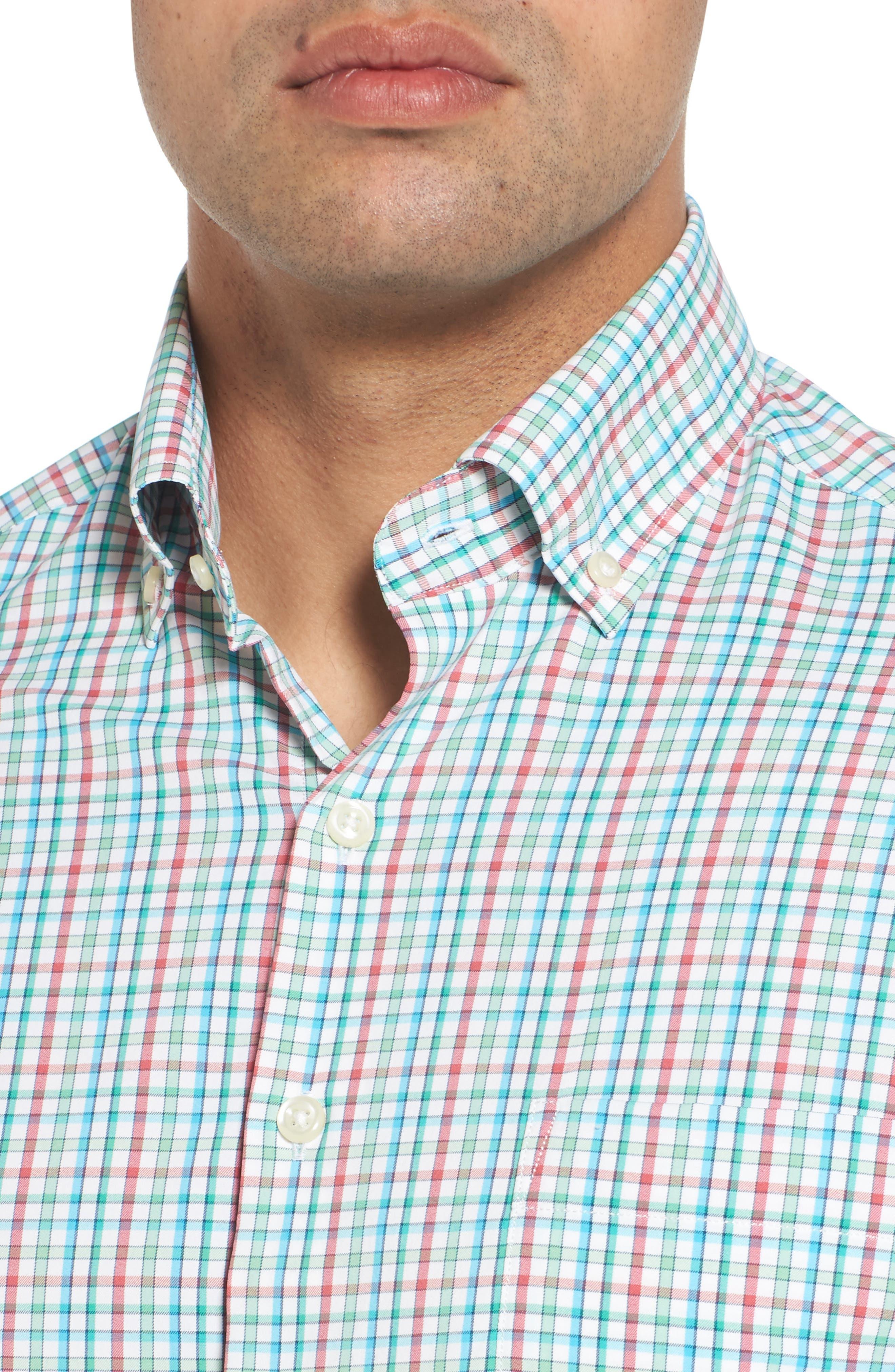 Gunn Regular Fit Tattersall Sport Shirt,                             Alternate thumbnail 4, color,                             100