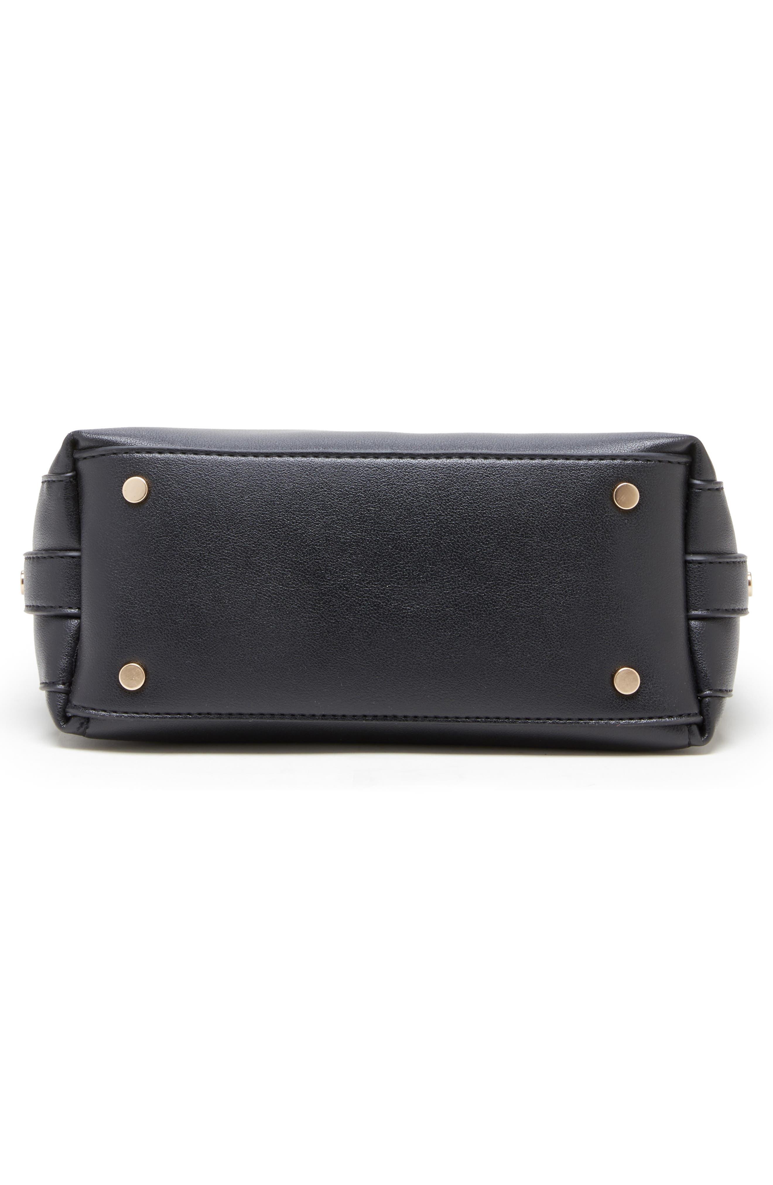 Hingi Faux Leather Shoulder Bag,                             Alternate thumbnail 5, color,                             BLACK