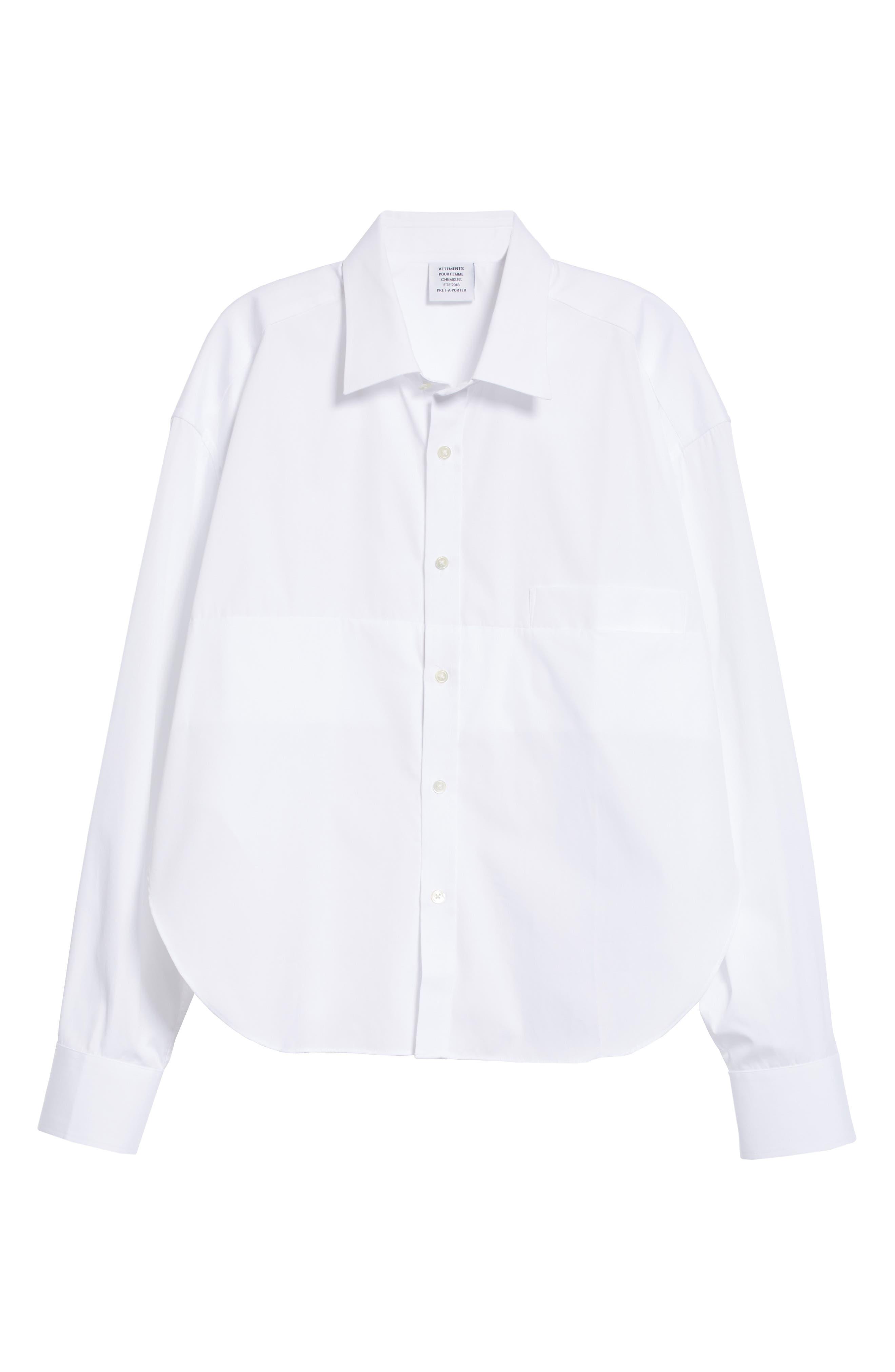 Crop Cotton Shirt,                             Alternate thumbnail 6, color,                             100